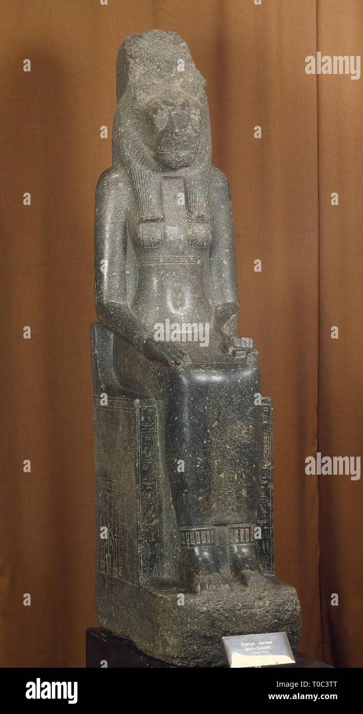 'Statue of the Goddess Sekhmet-Mut'. Temple of Sekhmet-Mut, Thebes. Ancient Egypt, Mid 14th century BC. New Kingdom, XVIIIth Dynasty. Dimensions: 200 cm. Museum: State Hermitage, St. Petersburg. Stock Photo