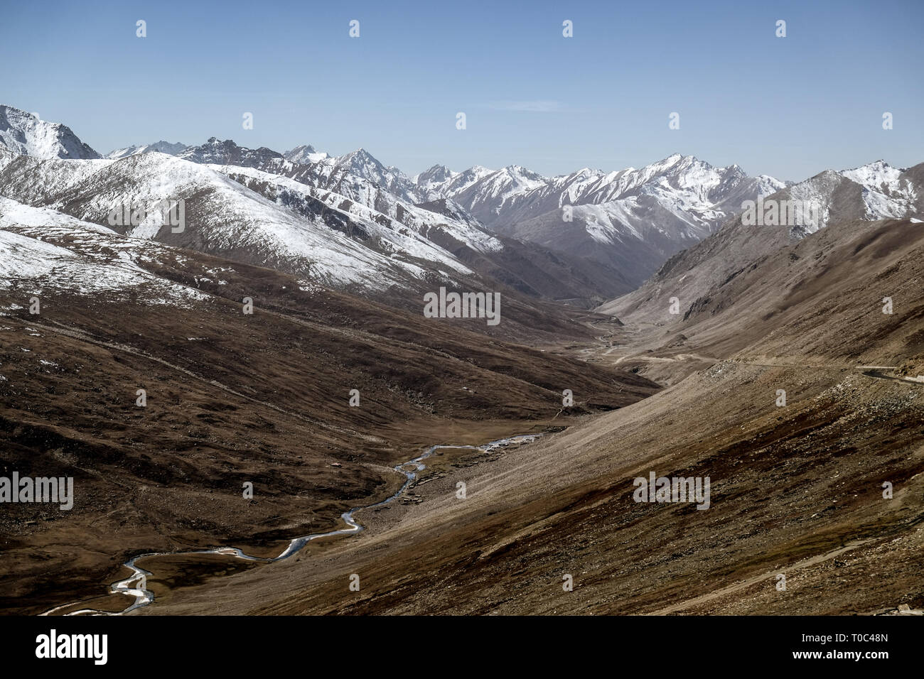 Landscape of snow capped mountain range. A view from Babusar Pass. Khyber Pakhtunkhwa, Gilgit Baltistan, Pakistan - Stock Image
