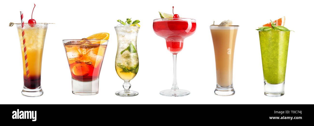 Set with different cocktails and strong drinks on a white background. Isolated. Banner. Stock Photo