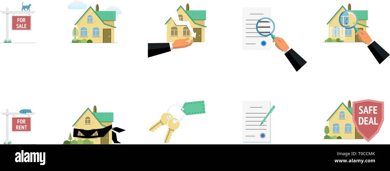 Real estate property sale rent risk fraud safe deal elements. Vector modern flat illustration set - Stock Image