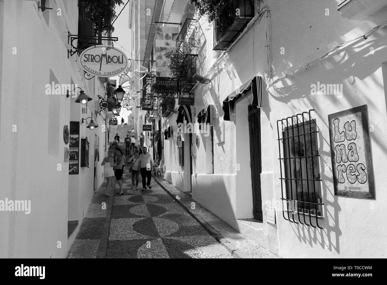 View of the streets in the old town of Altea, Costa Blanca, Spain, Europe Stock Photo