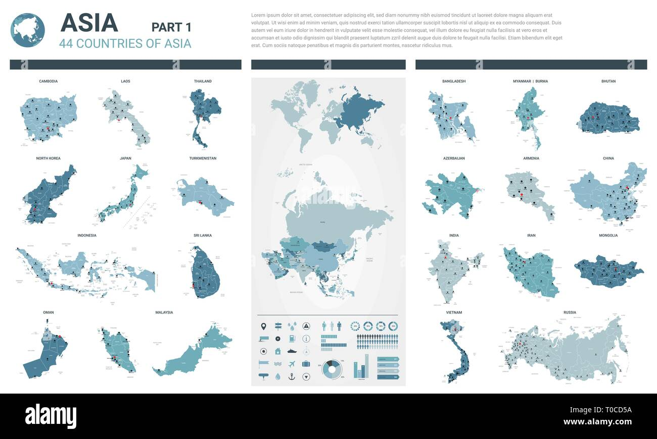 Detailed Map Of Asia.Vector Maps Set High Detailed 44 Maps Of Asian Countries With