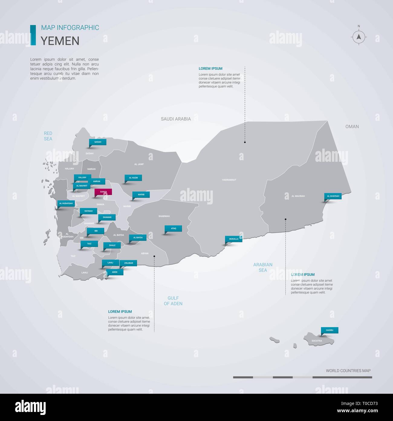 Yemen vector map with infographic elements, pointer marks. Editable template with regions, cities and capital Sanaa. - Stock Vector