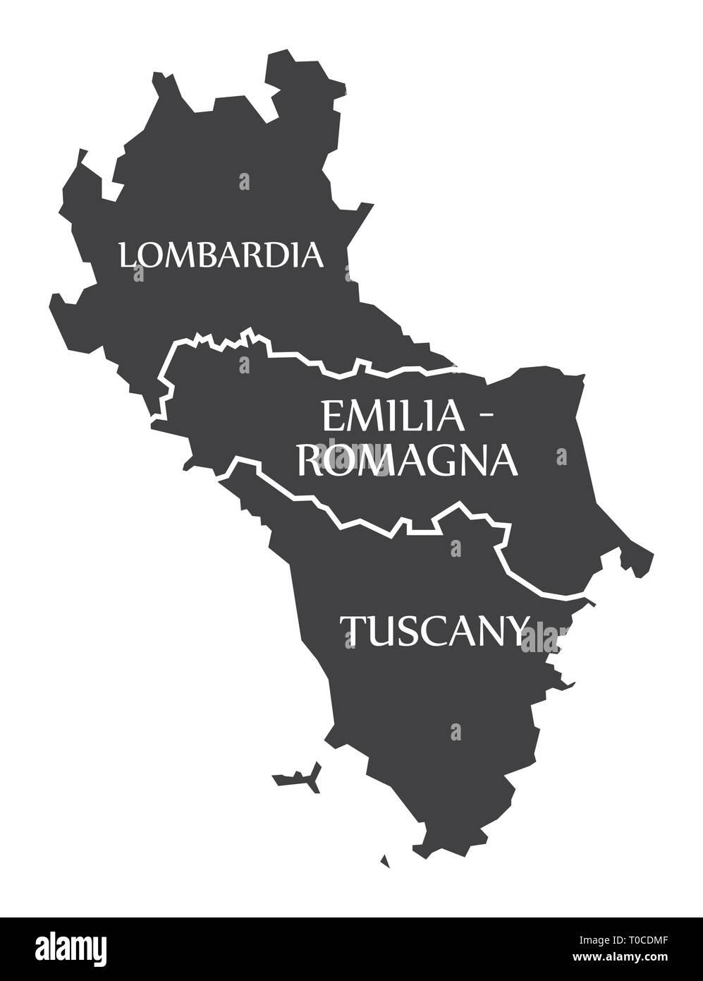 Map Of Italy Tuscany Region.Lombardia Emilia Romagna Tuscany Region Map Italy Stock Vector
