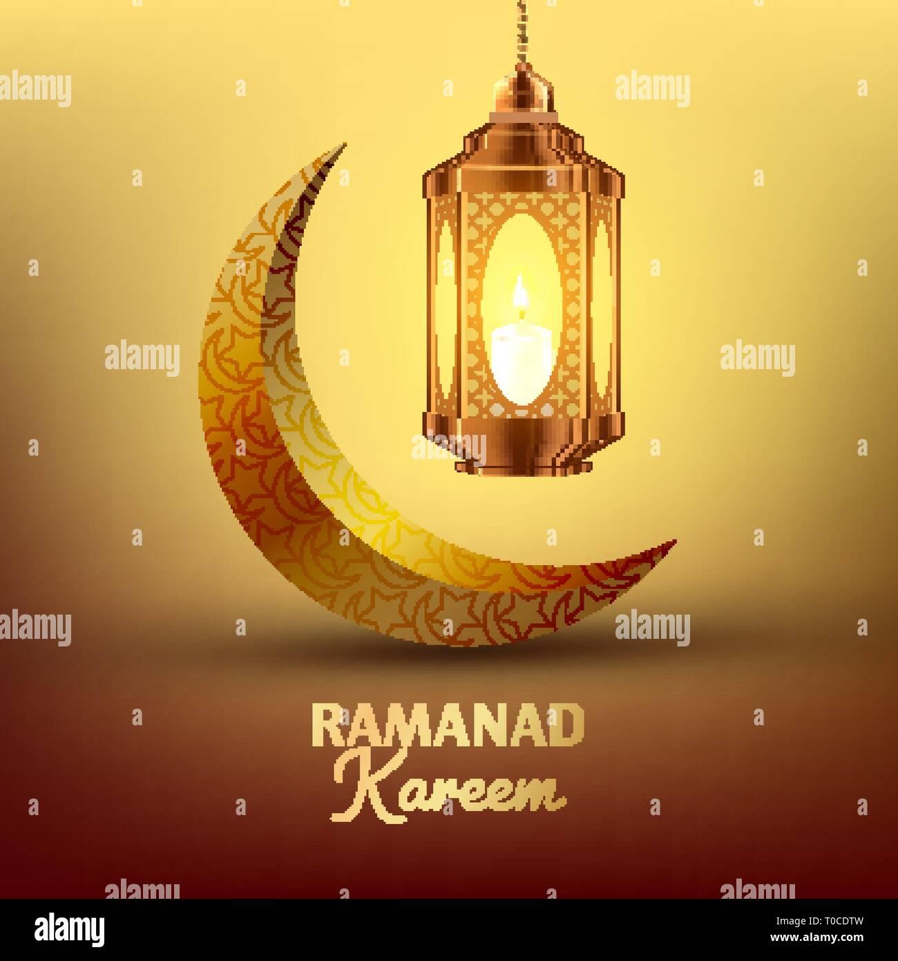 Ramadan Kareem Greeting Card Vector Islam Lamp Lantern