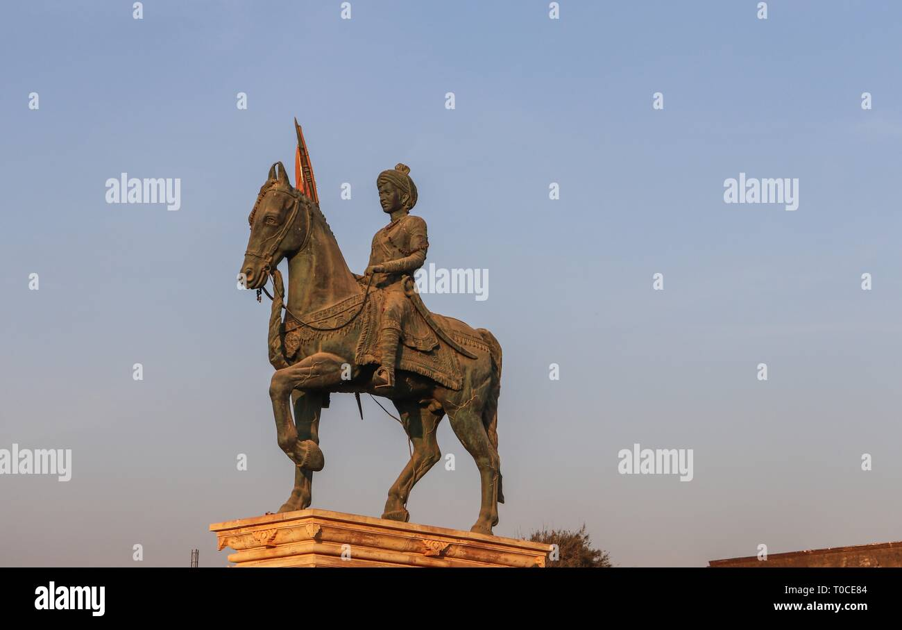 Statue of Veer Hamir singh Govil on a horse with a spear in hand/Somnath temple,Gujarat-India. - Stock Image
