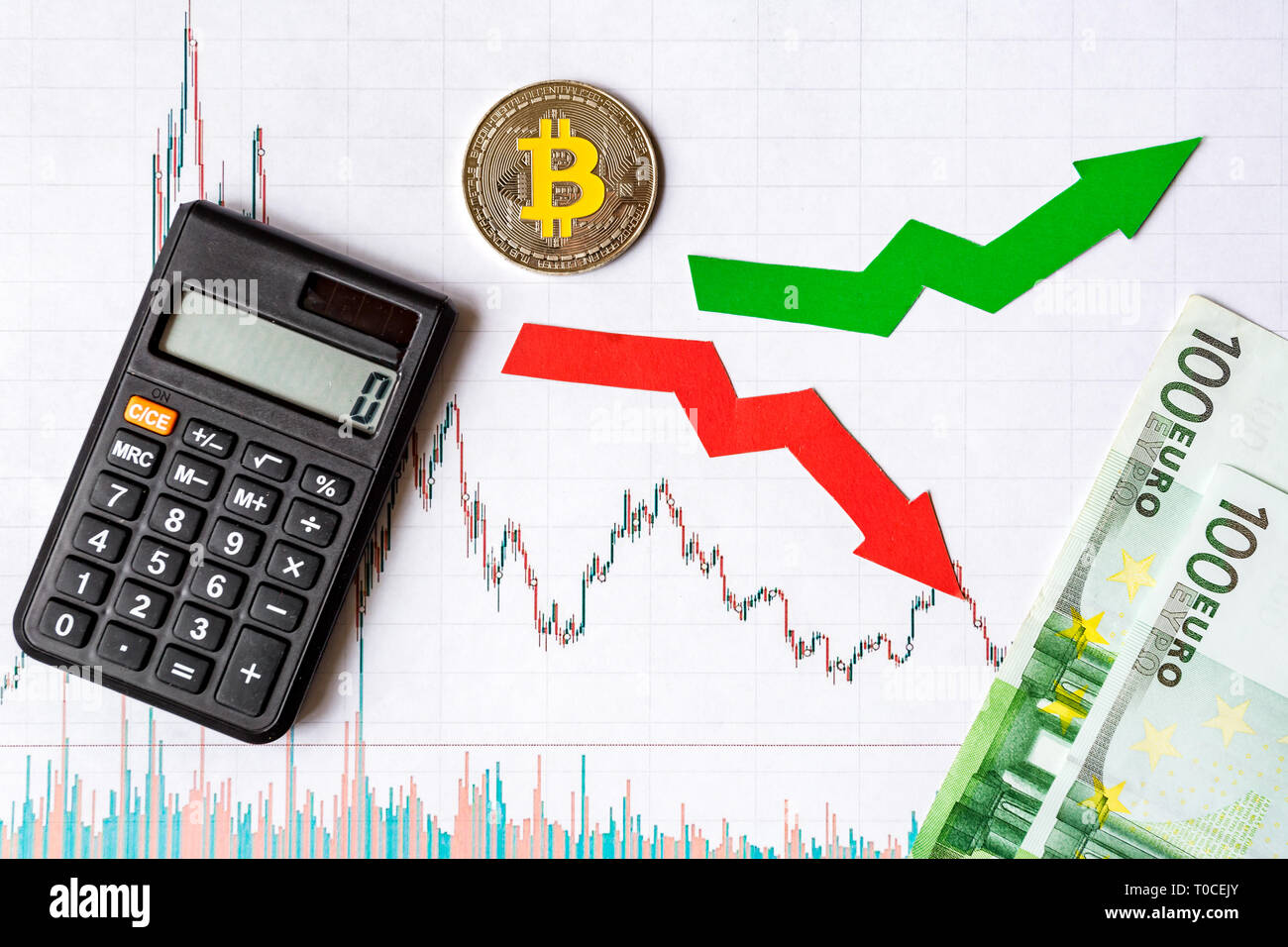 fluctuations  and forecasting of exchange rates of virtual money. Red and green arrows with golden Bitcoin ladder on white paper forex chart backgroun - Stock Image