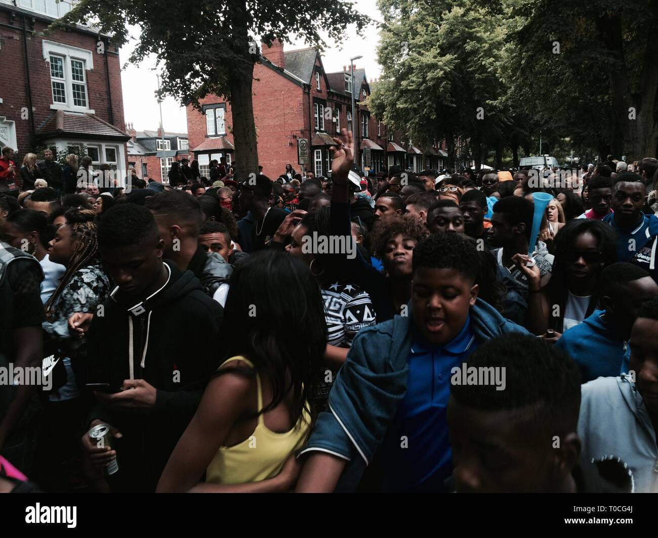 black people in street riot, public unrest - Stock Image