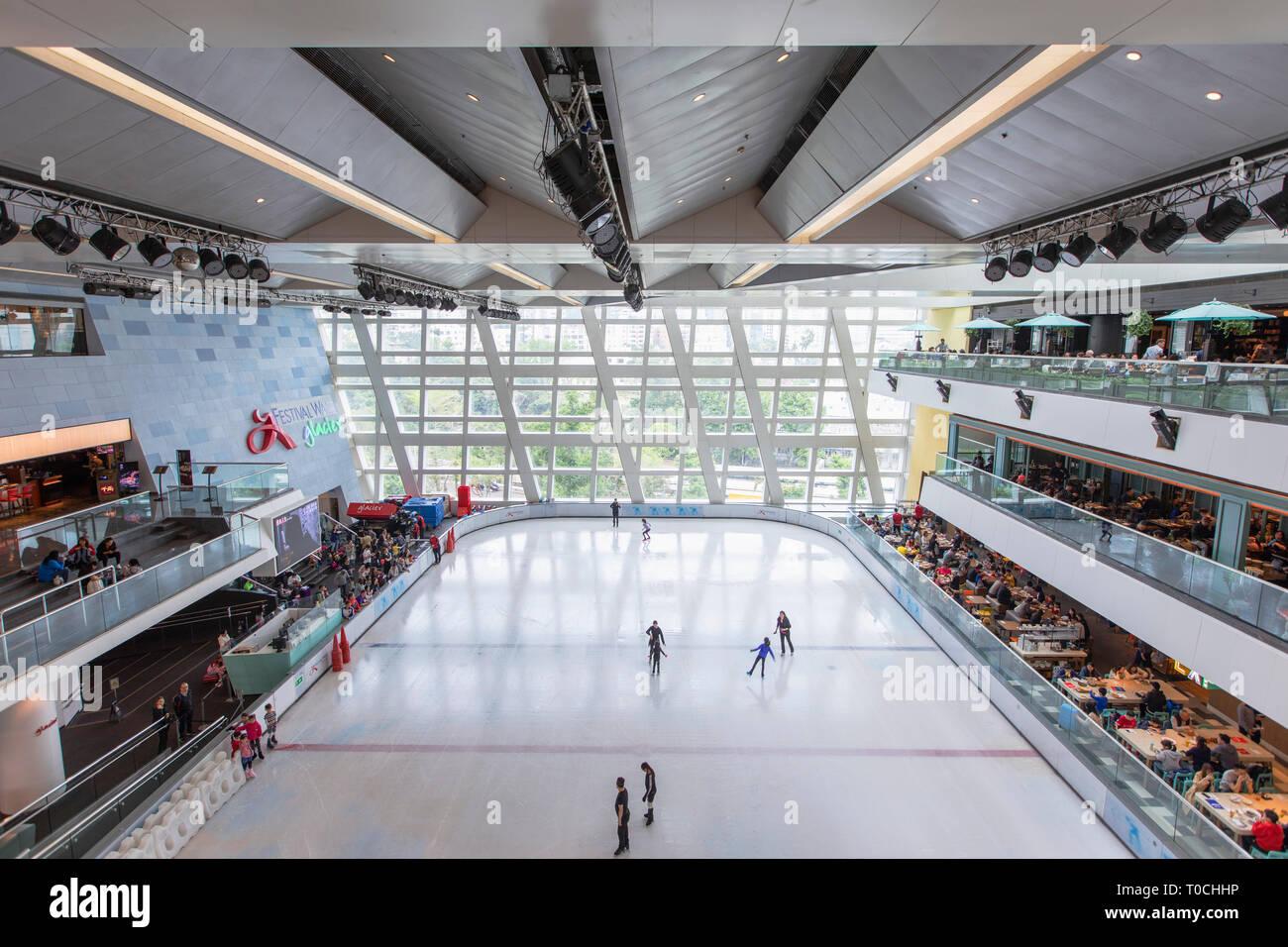 Glacier ice rink in Festival Walk, Kowloon Tong, Kowloon, Hong Kong - Stock Image