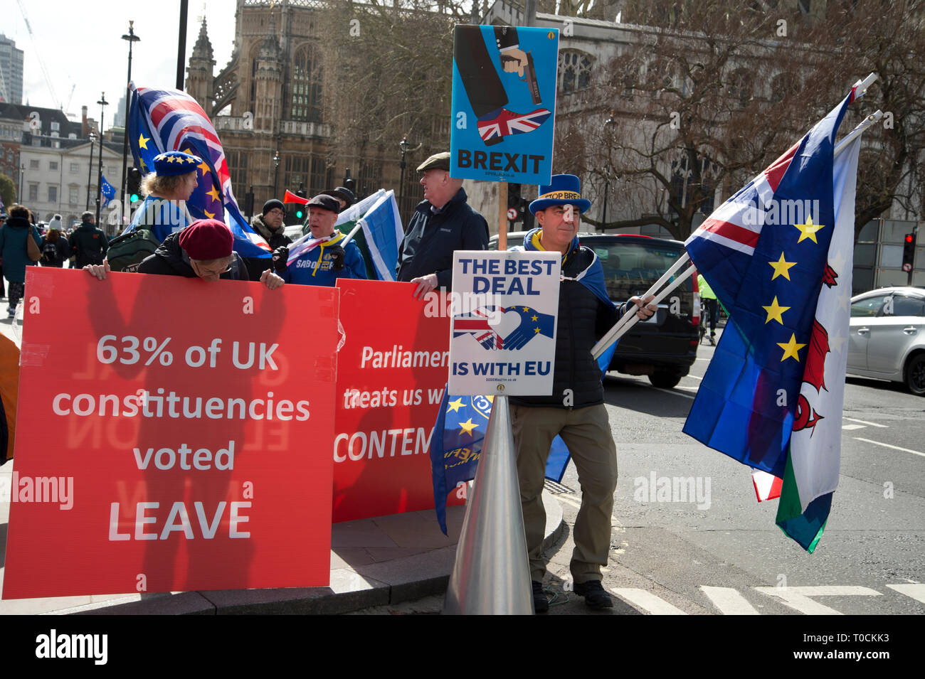 Westminster March 18th 2019. Remain and Leave protesters in front of the Houses of Parliament. - Stock Image