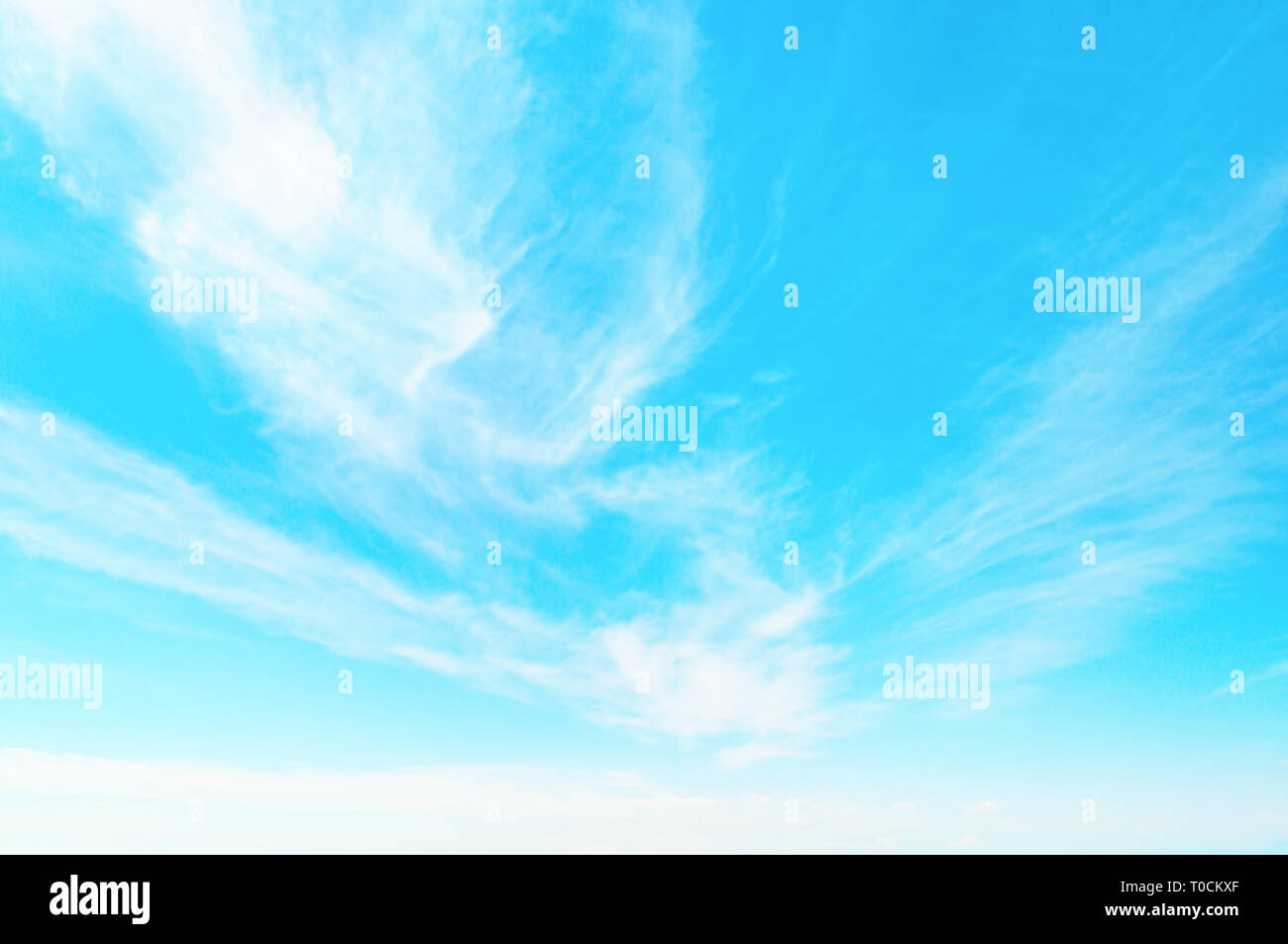 blue sky and white cumulus clouds - Stock Image