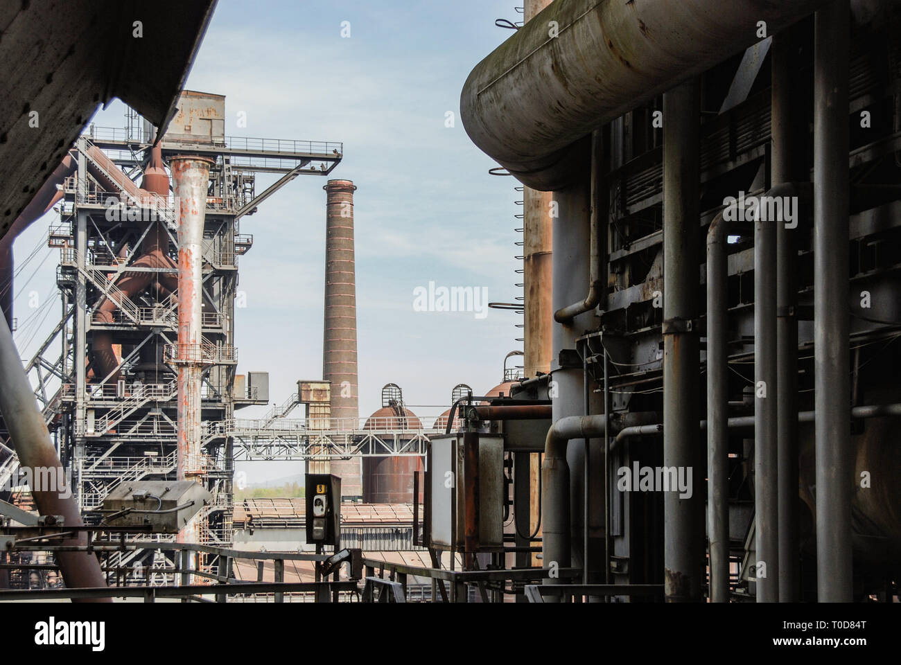Landschaftspark Nord, Duisburg, Germany - 24 April 2010. Detail of decommissioned furnace in the Ruhr area. - Stock Image