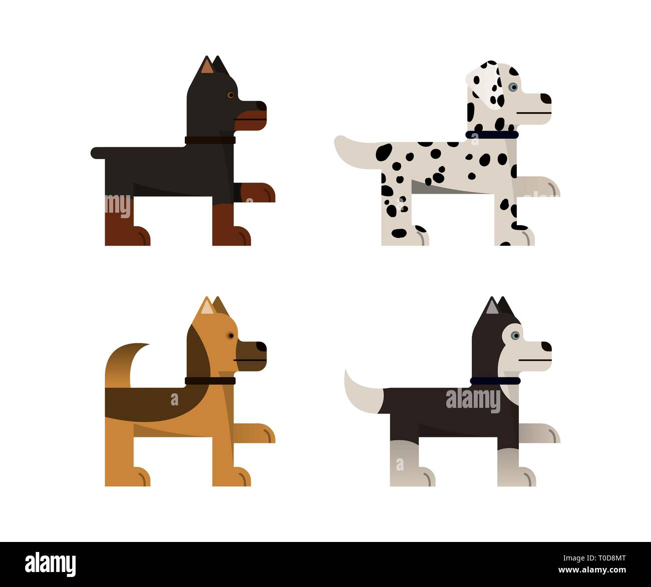 Dogs stand and gives a paw. Doberman, shepherd, husky and dalmatian. Vector illustration. Flat icons set. Stock Vector