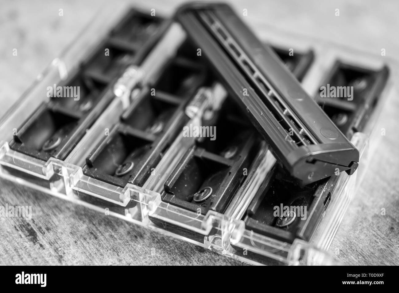 Spare blades of a shaving machine in black and white - Stock Image