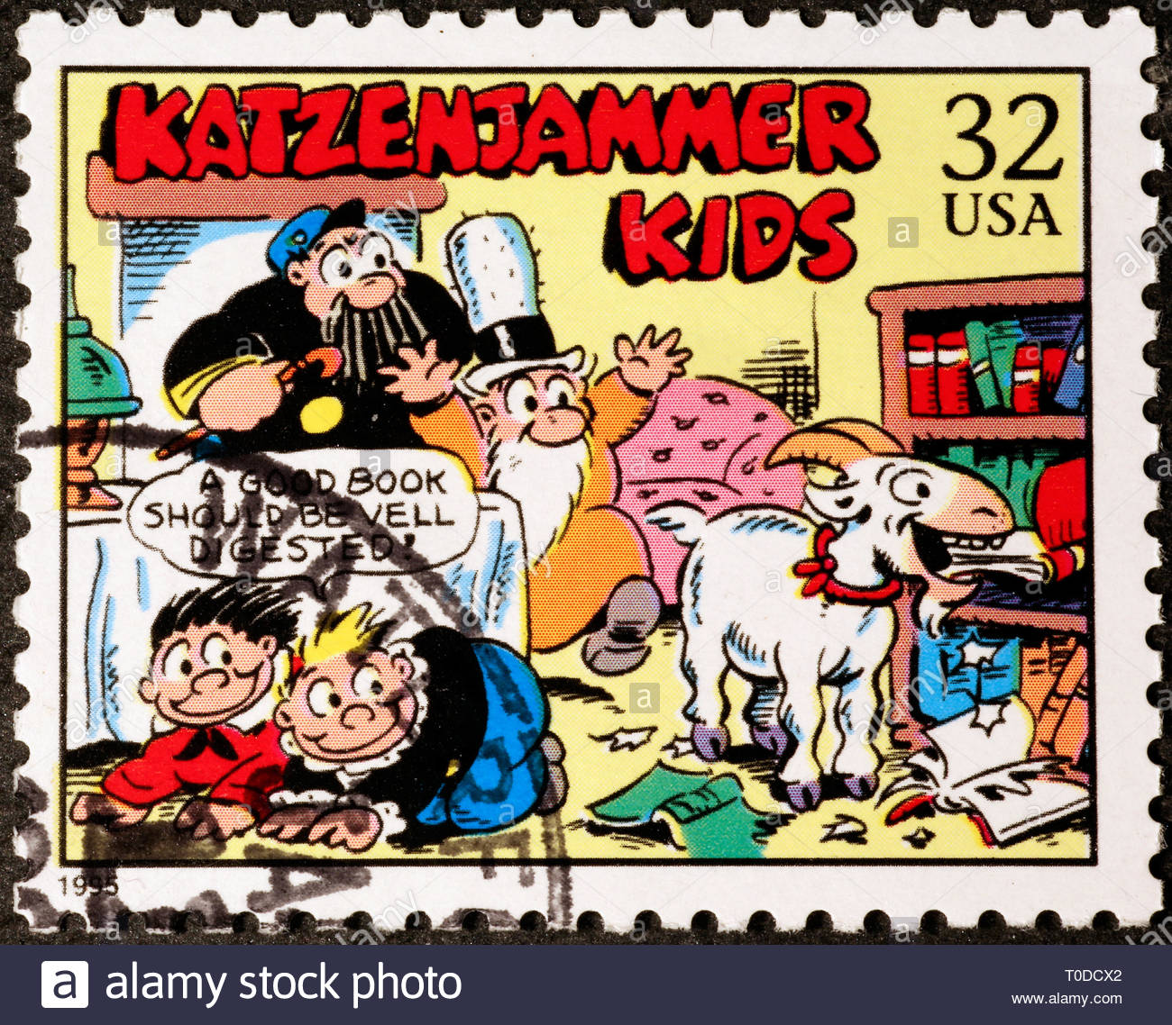 Cartoon Katzenjammer kids on american postage stamp - Stock Image