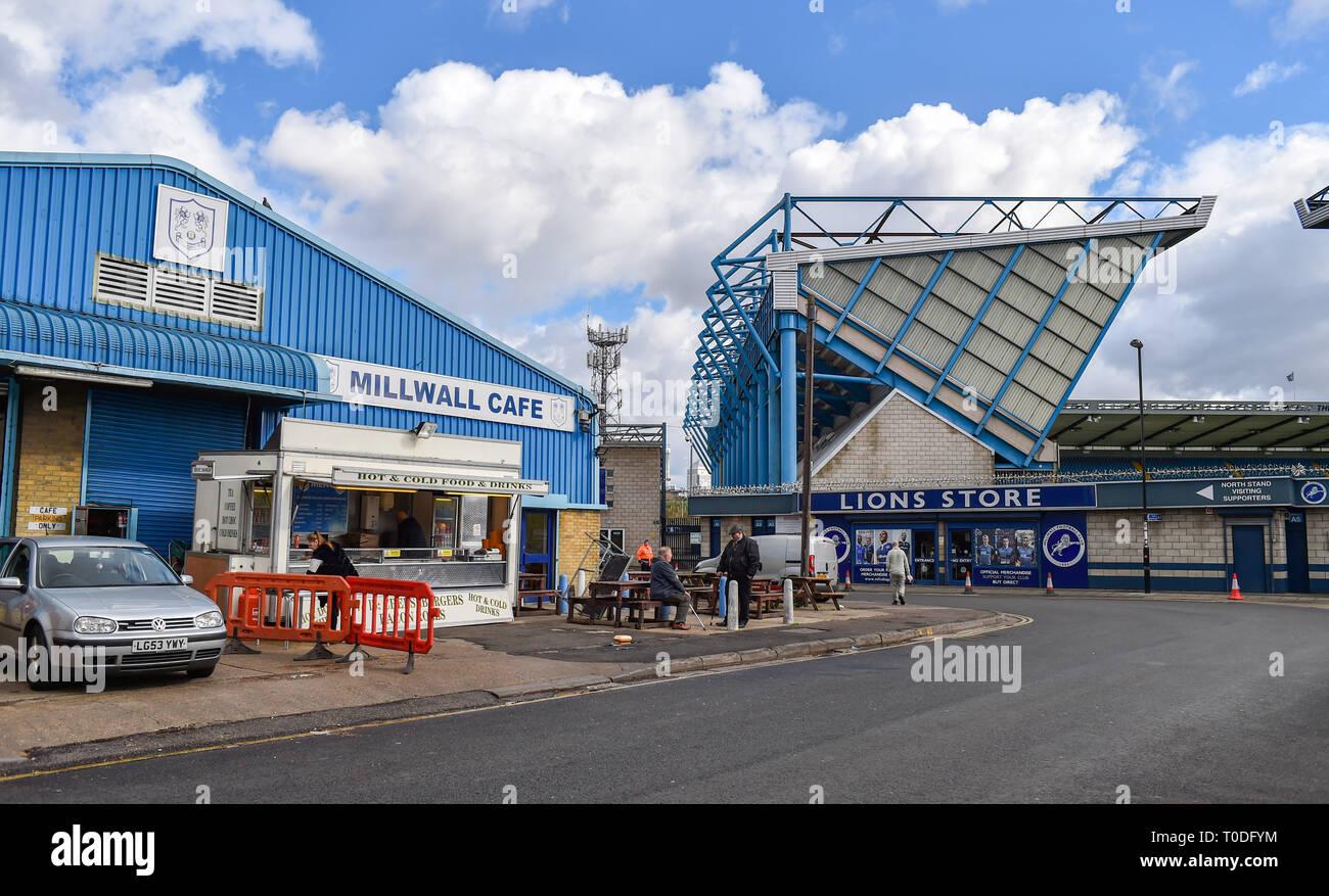 Bermondsey Borough of Southwark London UK - The Millwall cafe outside The Den Stadium Stock Photo