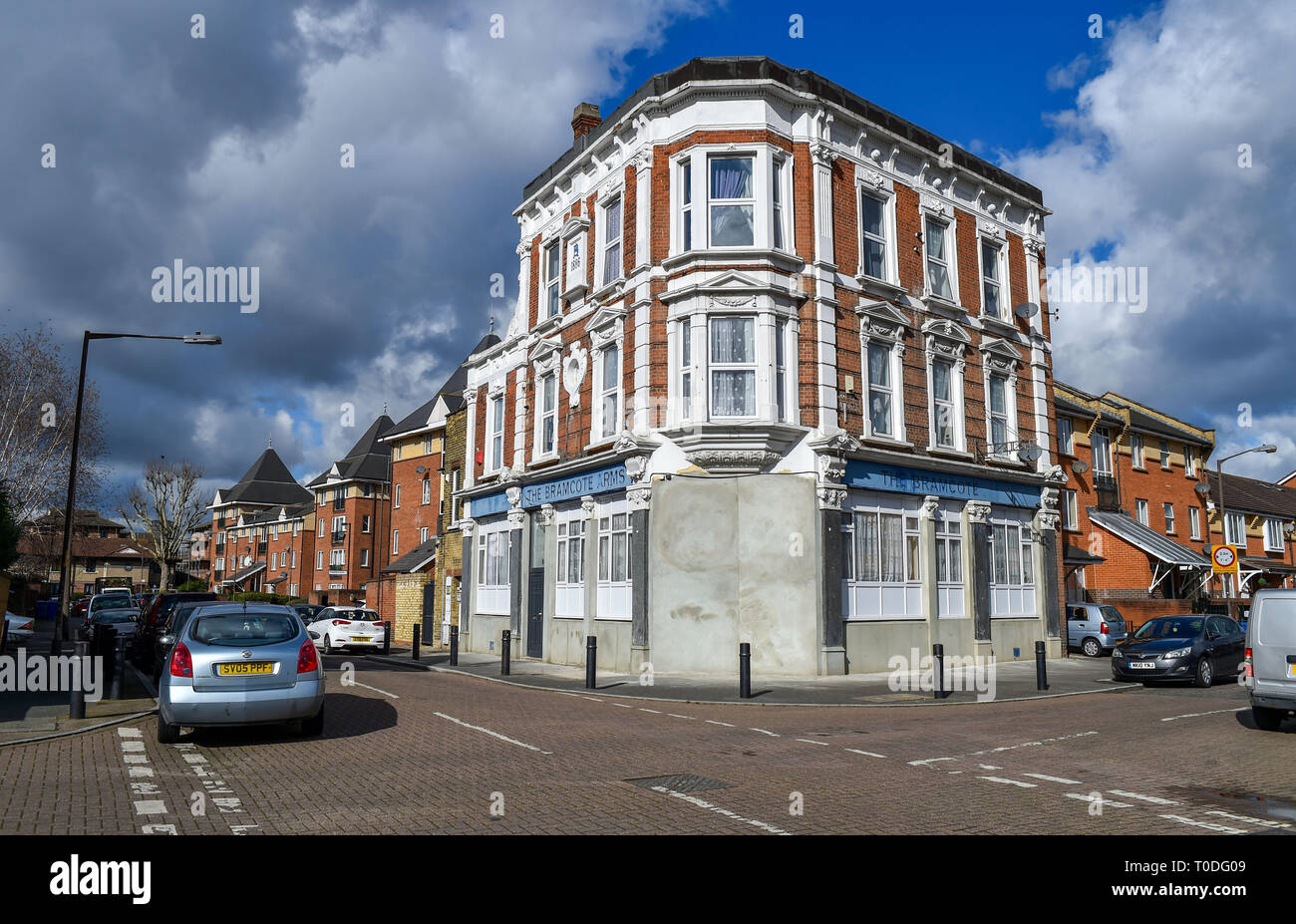 Bermondsey Borough of Southwark London UK - The Bramcote Arms which has been converted into flats Stock Photo