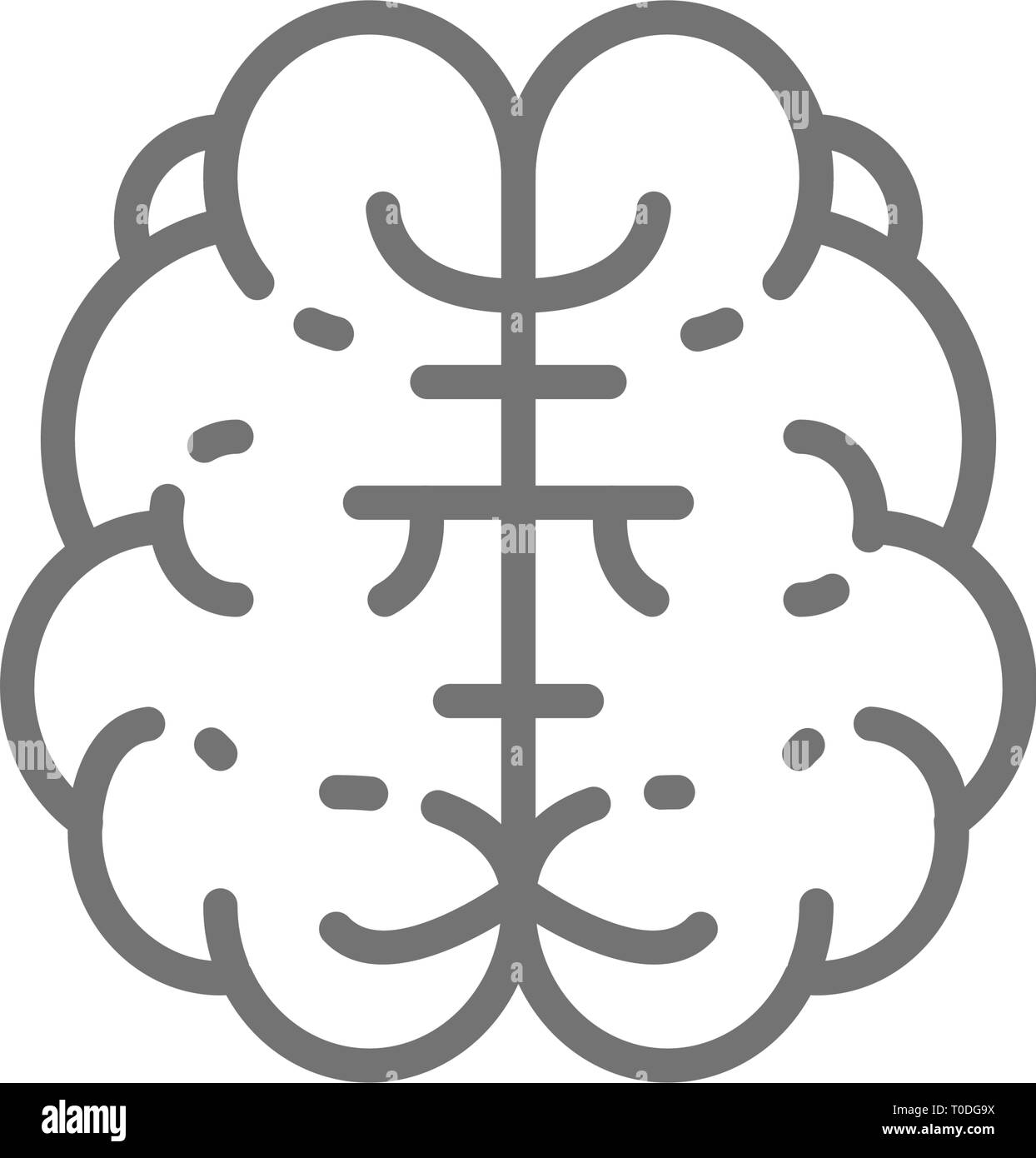 Brain, mind, intelligence, human organ line icon. - Stock Image