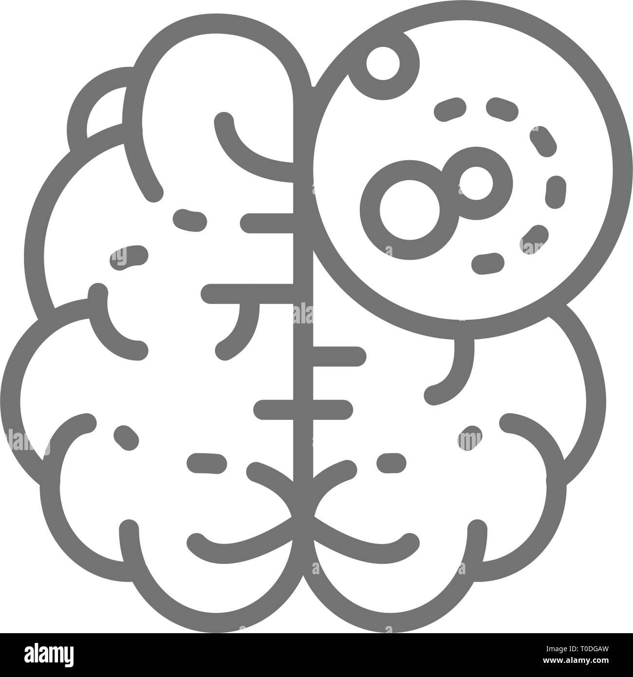 Brain cancer, malignant tumor, oncology line icon. - Stock Image