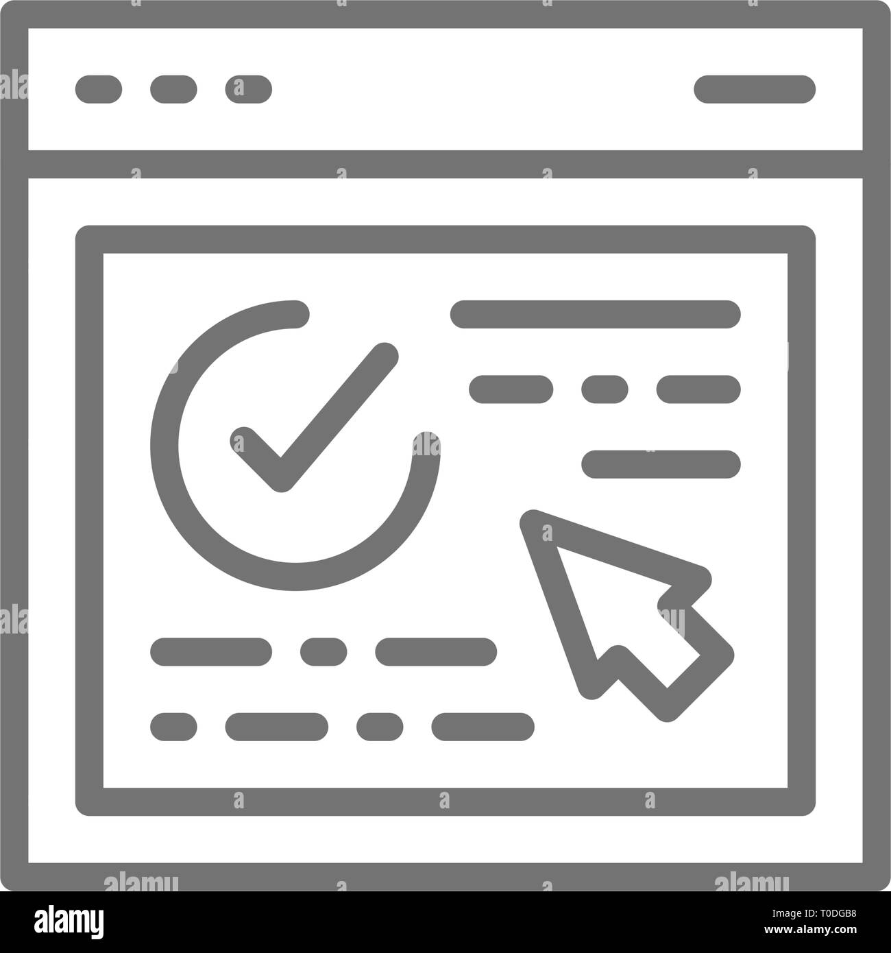 Authorization, approved web page, website with check mark, browser verification line icon. - Stock Image