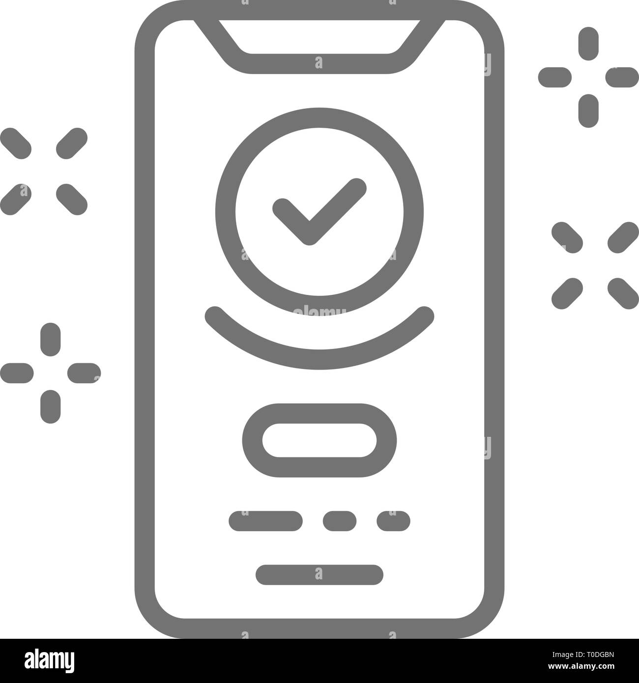 Smartphone display with successful checkmark, device verified, approved line icon. - Stock Image