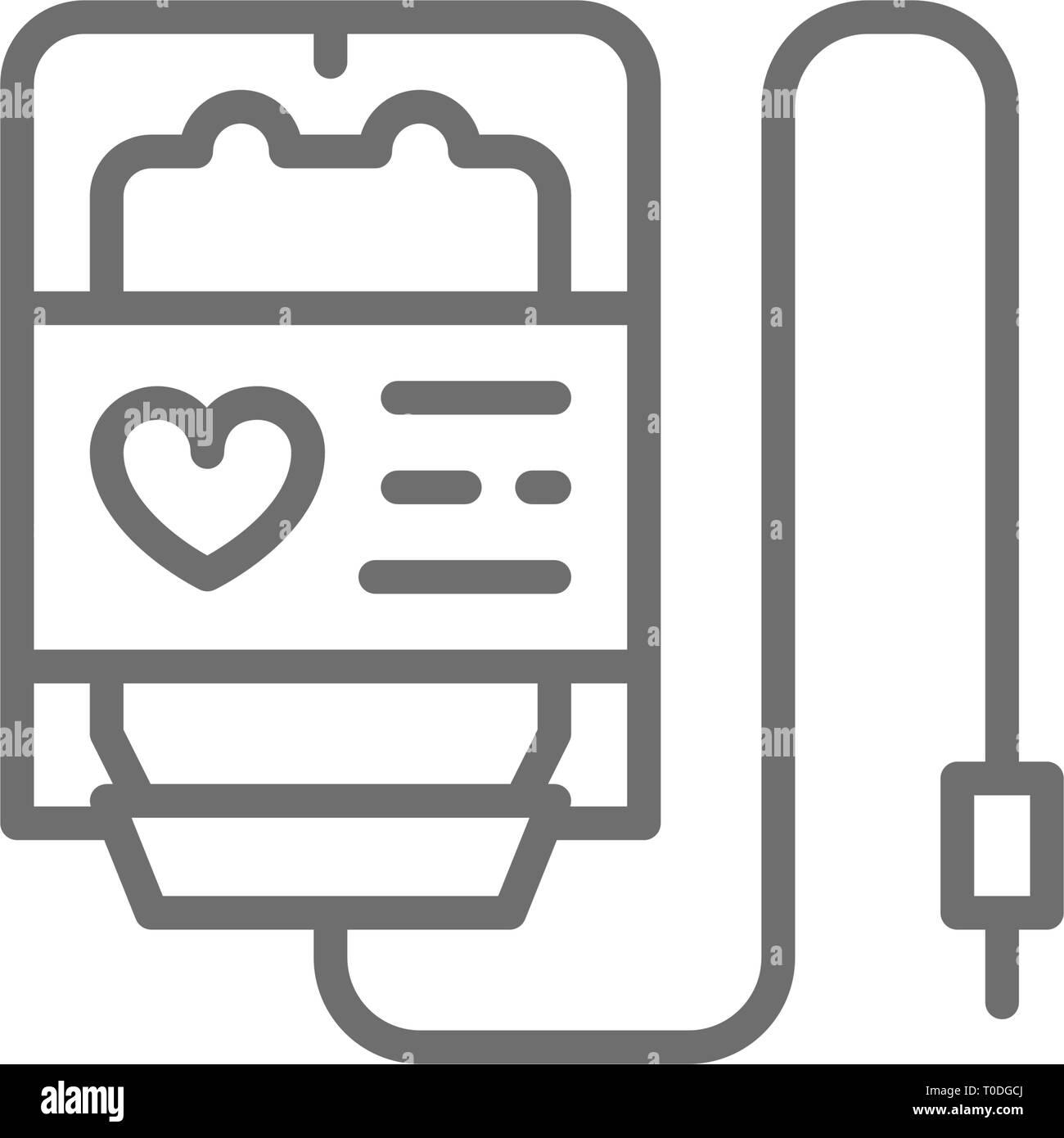 Blood donation, transfusion, volunteering, charity line icon. - Stock Image