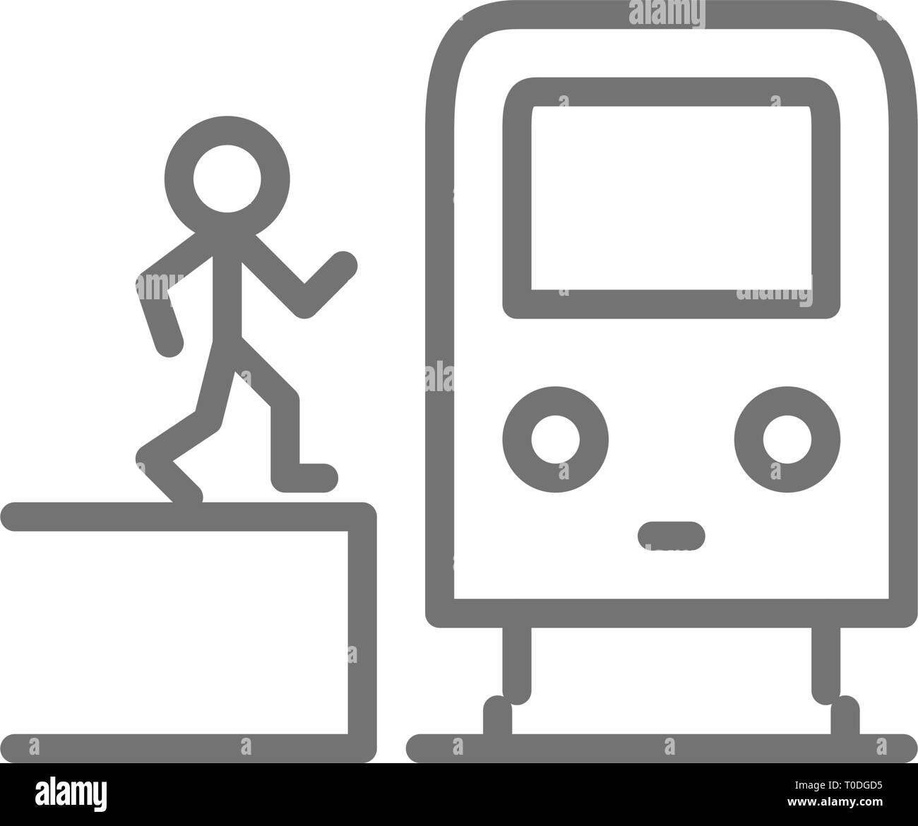 Man in metro, waggon on platform, train, subway station line icon. - Stock Vector