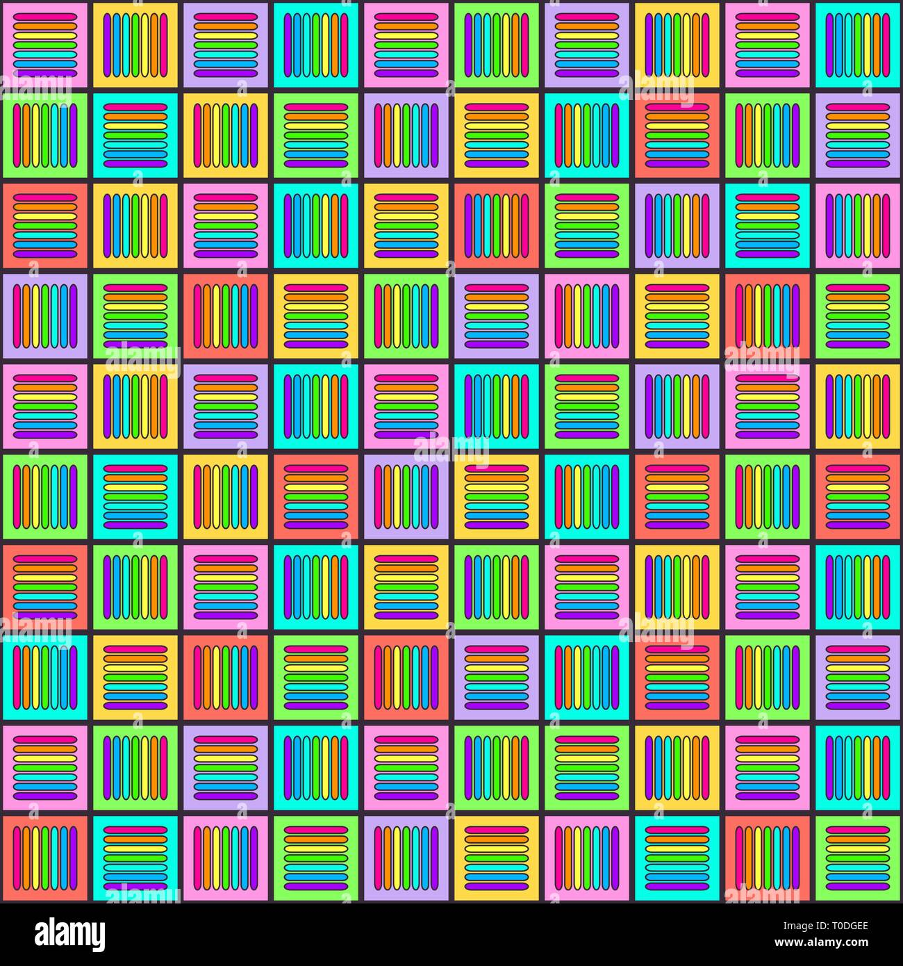Geometric seamless pattern with multicolored cross lines in squares, rainbow colors braided ornament, prism graphic texture. Decorative strokes backgr Stock Vector