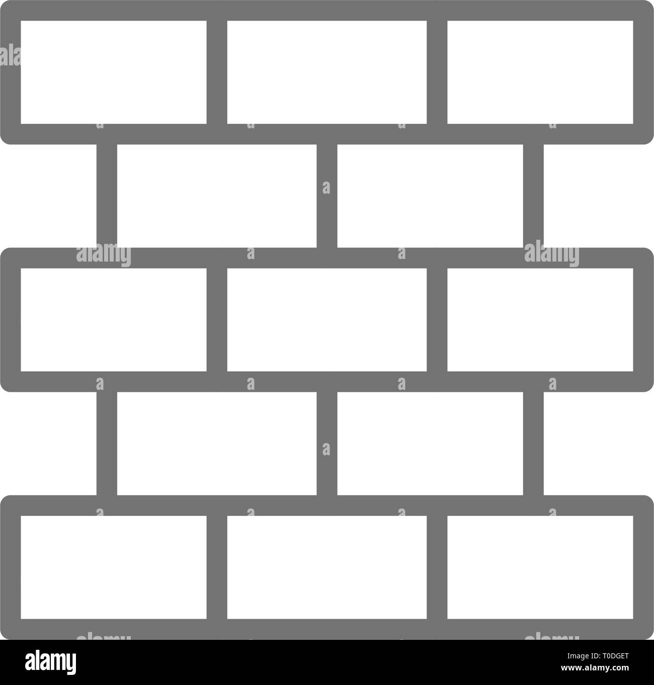 Bricks, wall, brickwork line icon. - Stock Vector