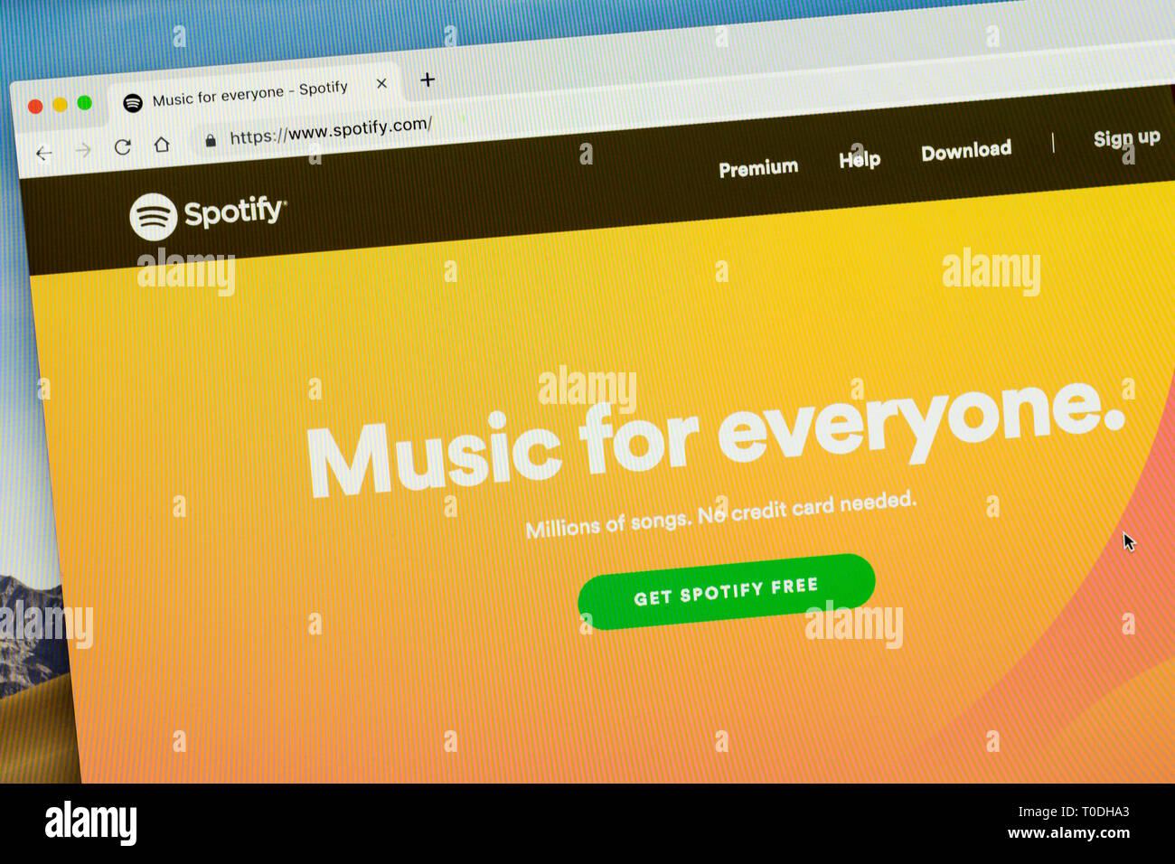 Spotify homepage in desktop computer browser - Stock Image