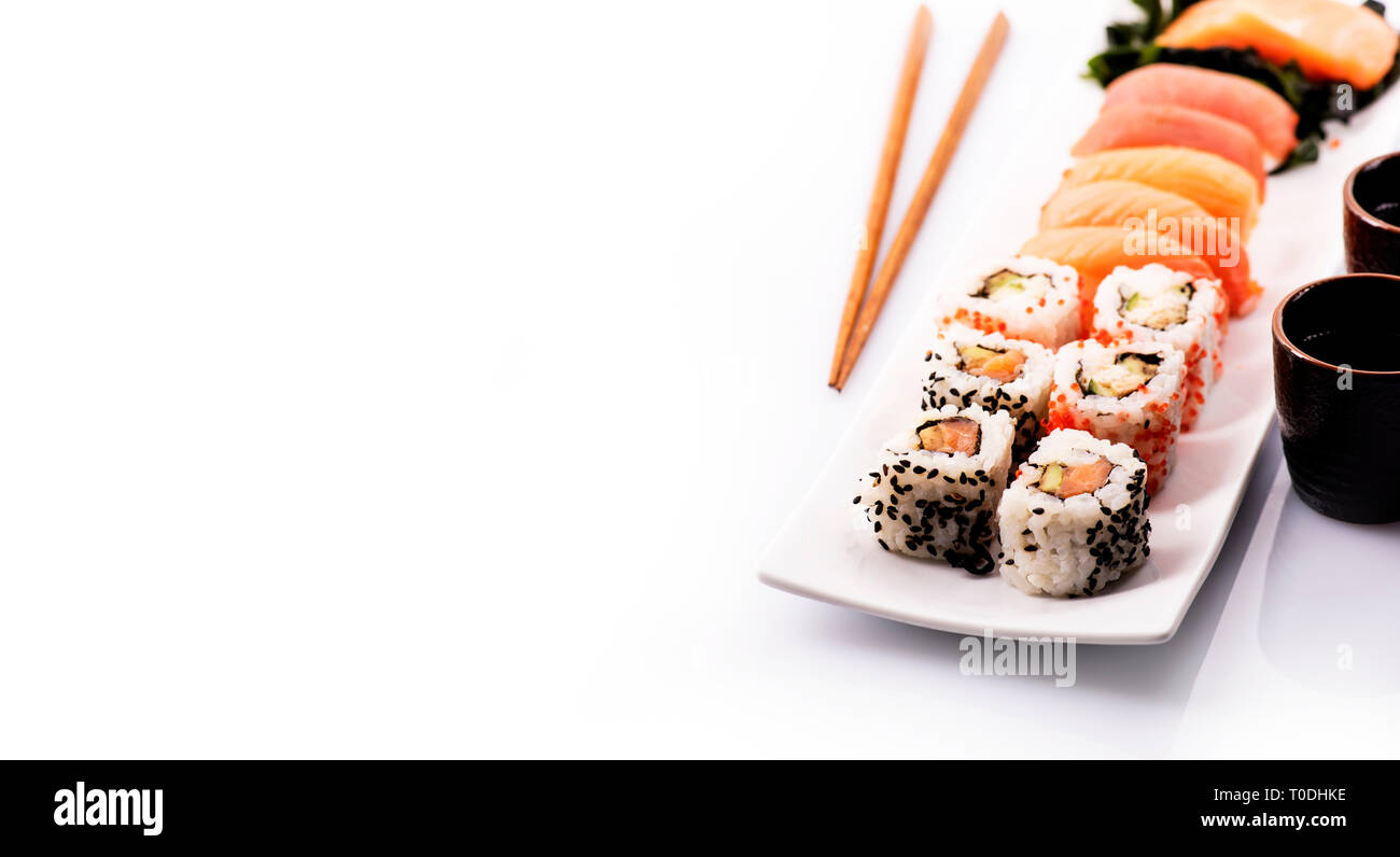 Sushi Rolls Set With Sea Weed Salmon And Tuna Fish Isolated