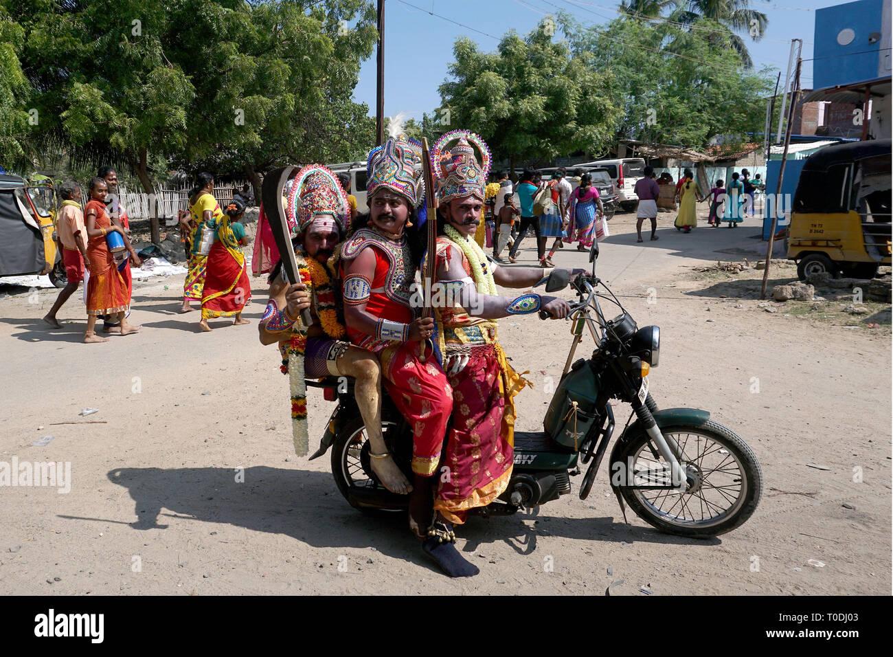 men dress as Hindu Gods near Mutharamman temple, Tamil Nadu, India, Asia - Stock Image