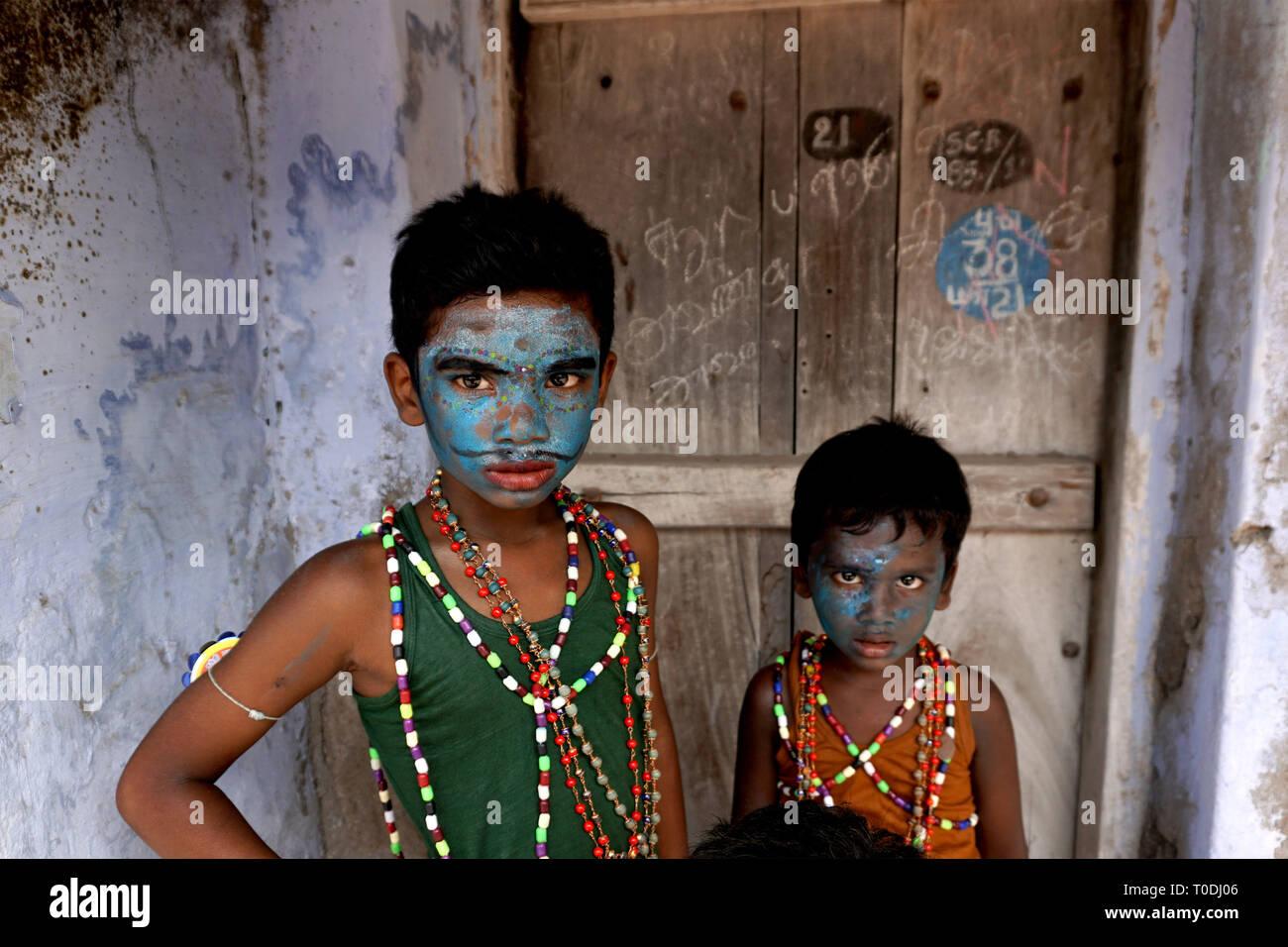 children dress as Hindu Gods near Mutharamman temple, Tamil Nadu, India, Asia - Stock Image