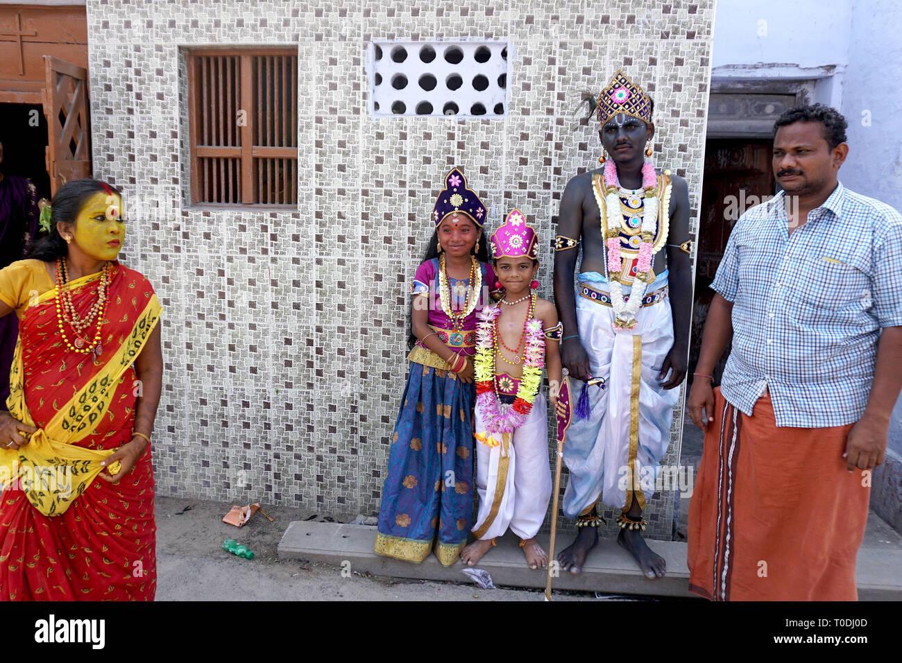 People dress as Hindu Gods near Mutharamman temple, Tamil Nadu, India, Asia - Stock Image