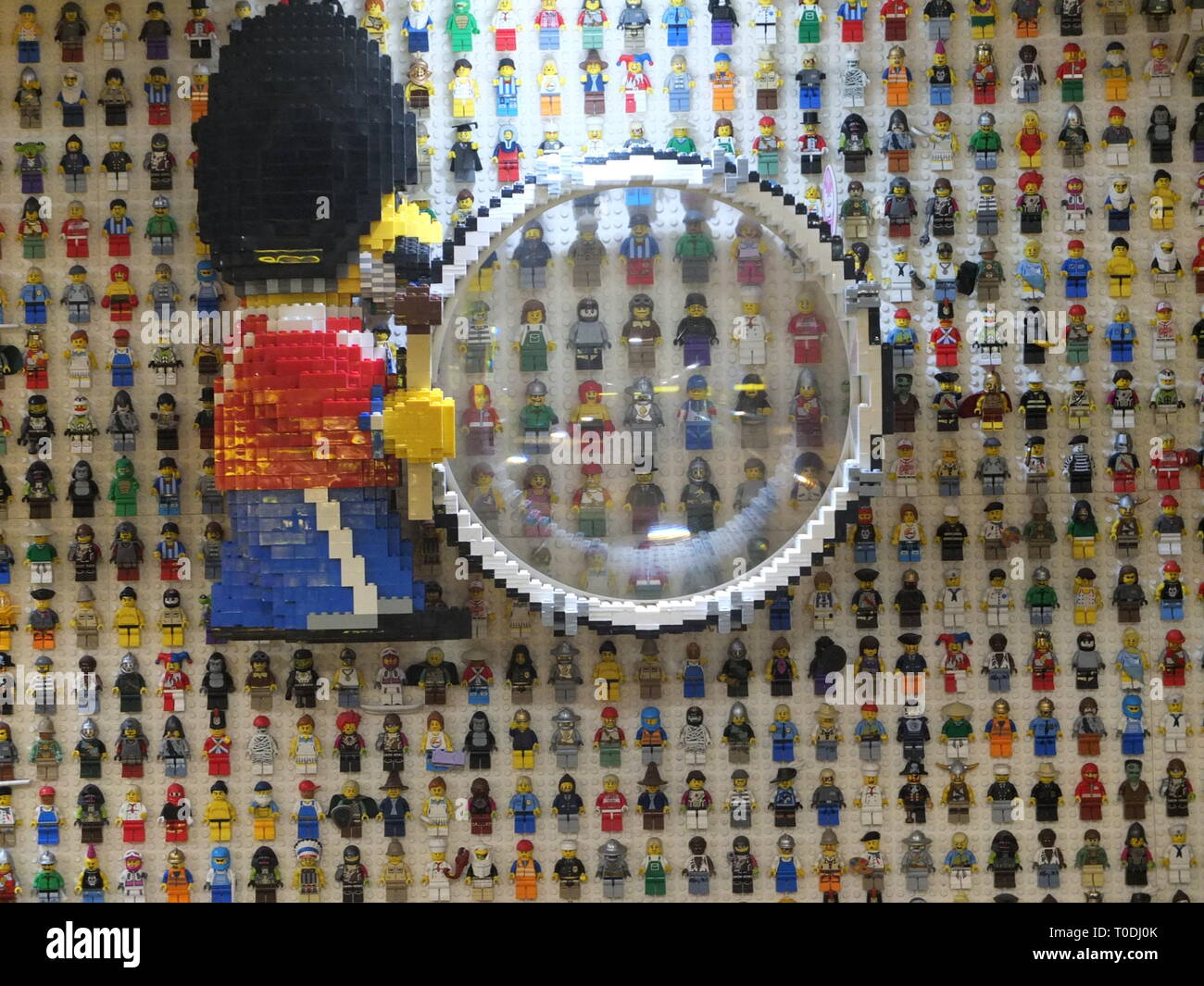 Lego figures on the wall in the reception area of the hotel at the LEGOLAND Windsor Resort UK Stock Photo