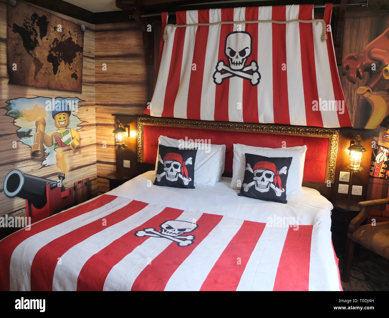 Adults double bed and décor in one of the Premium Pirate Rooms at the hotel at LEGOLAND Windsor Resort UK Stock Photo