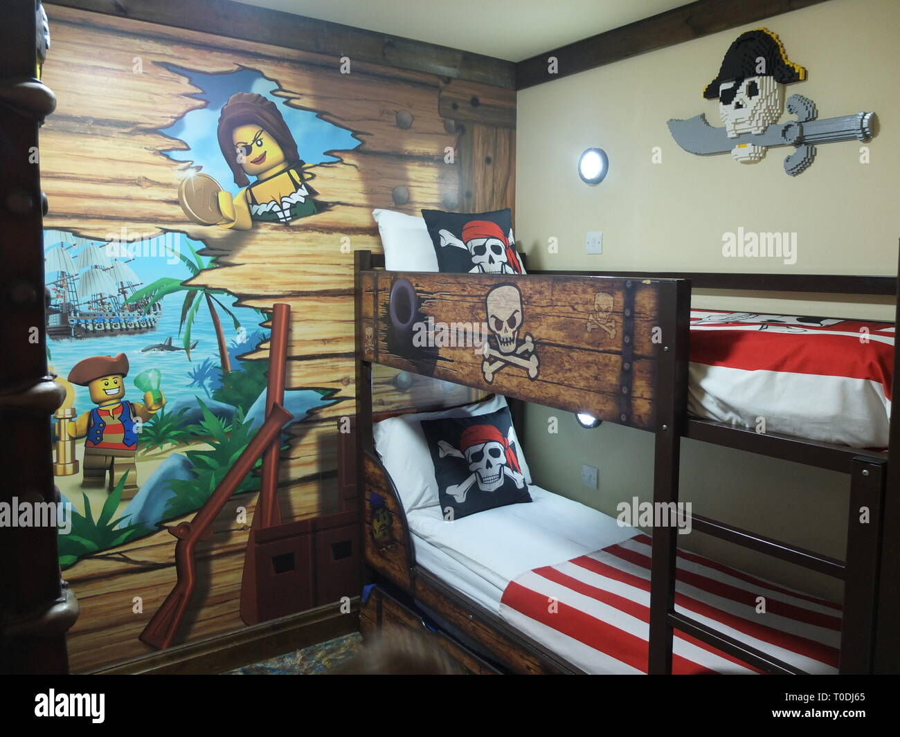 Childs bunk beds and décor in one of Premium Pirate Rooms at the hotel at LEGOLAND Windsor Resort UK Stock Photo