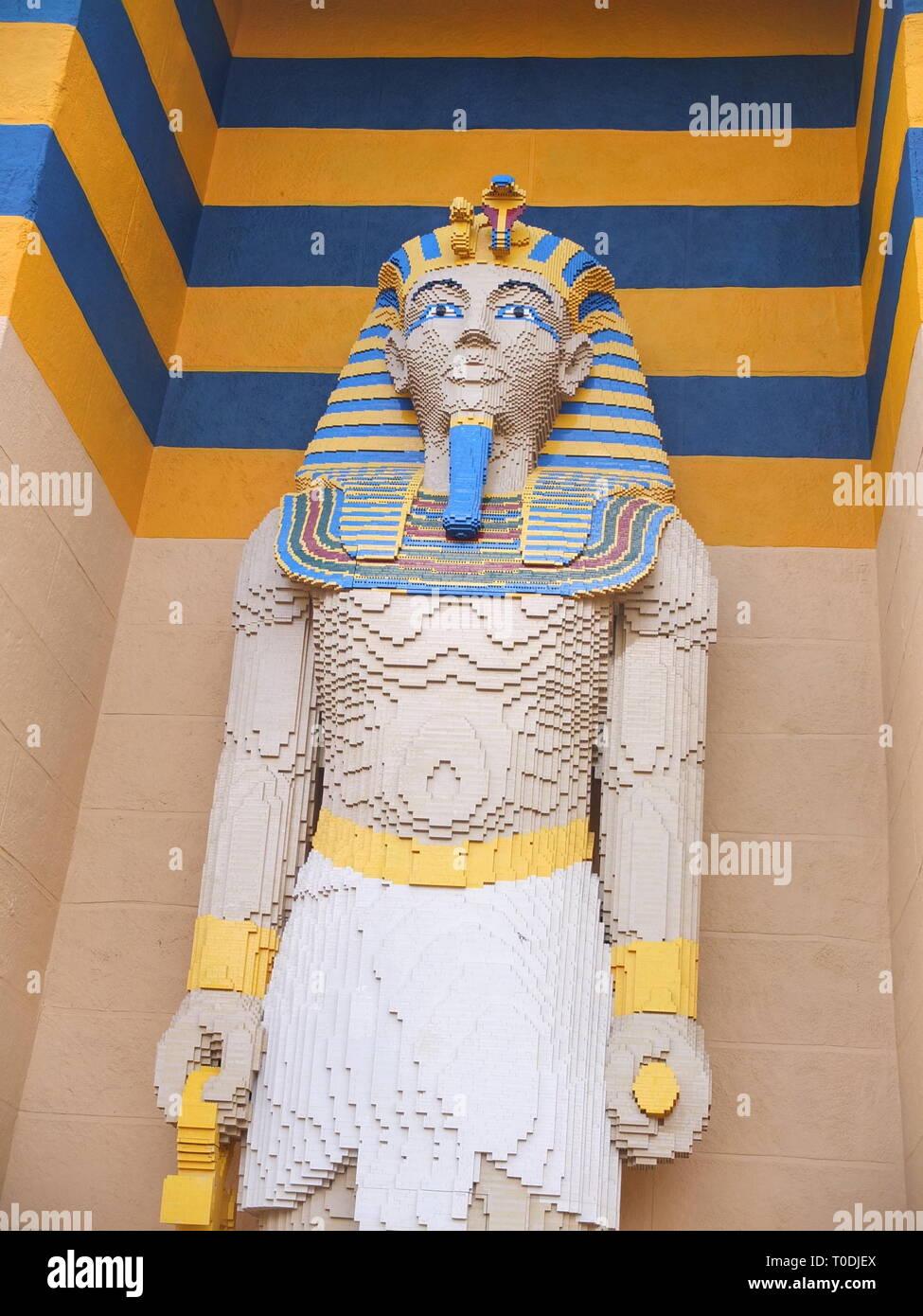 Lego model statue of Tutankhamun in the Kingdom Of The Pharaohs section of LEGOLAND Windsor Resort UK Stock Photo