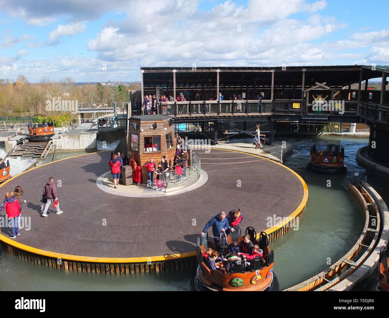 Legoland Windsor Resort UK - Viking's River Splash water ride in 'The Land Of The Vikings' section Stock Photo