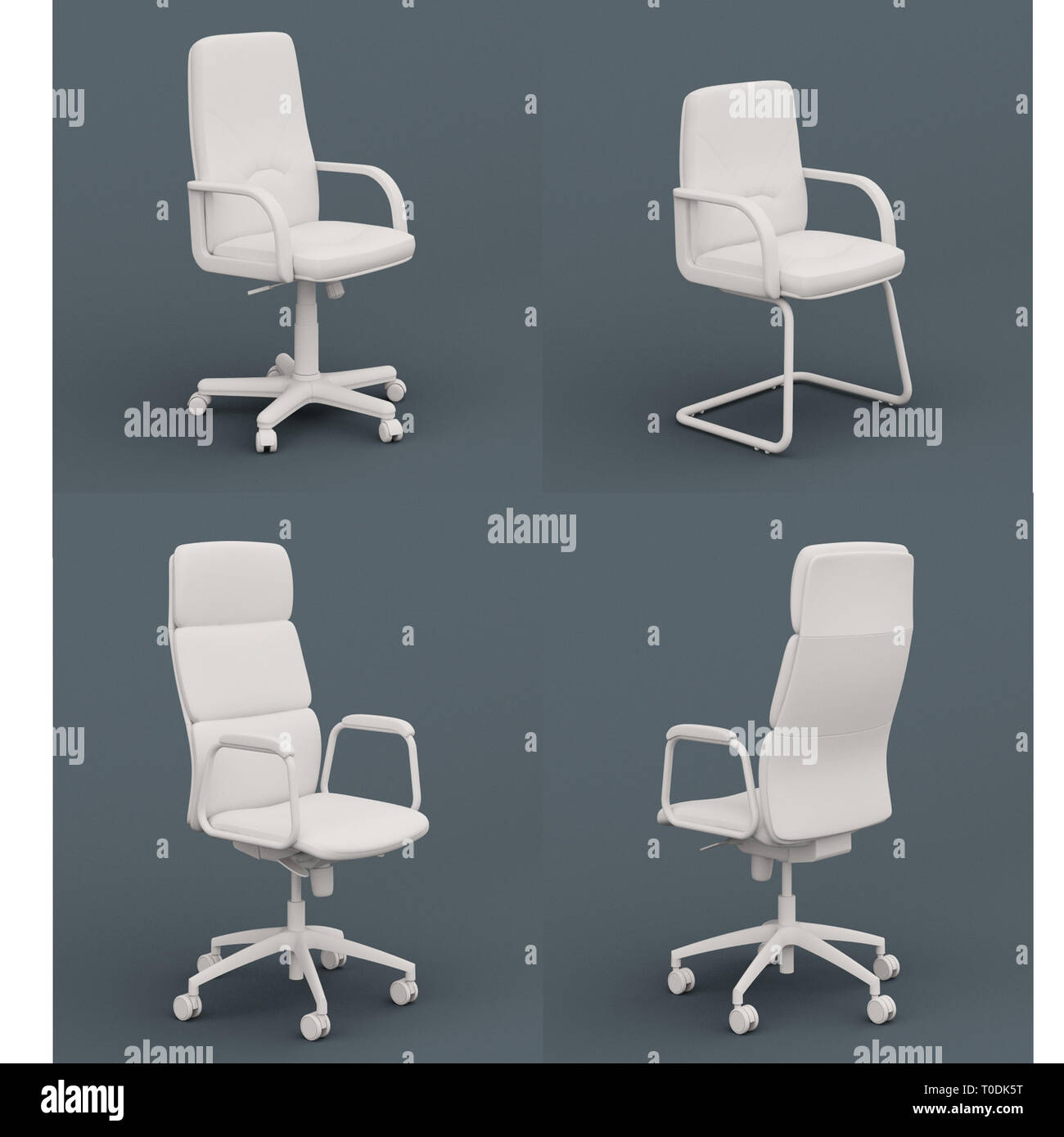 A Set Of White Home Office Desk Chairs Stock Photo Alamy