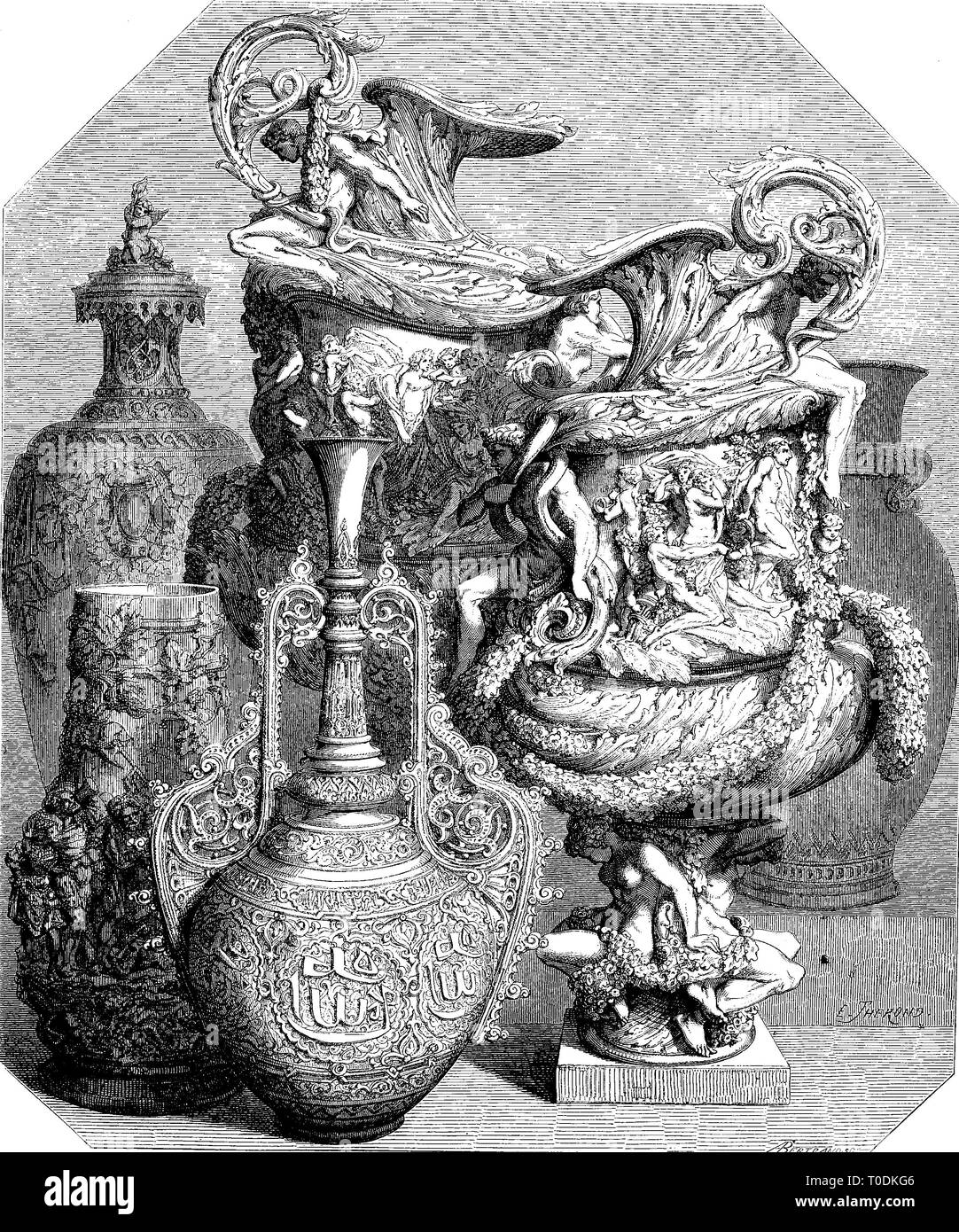 Digital improved reproduction, ceramics, vases at the world exhibition 1855, Paris, France, original woodprint from th 19th century - Stock Image