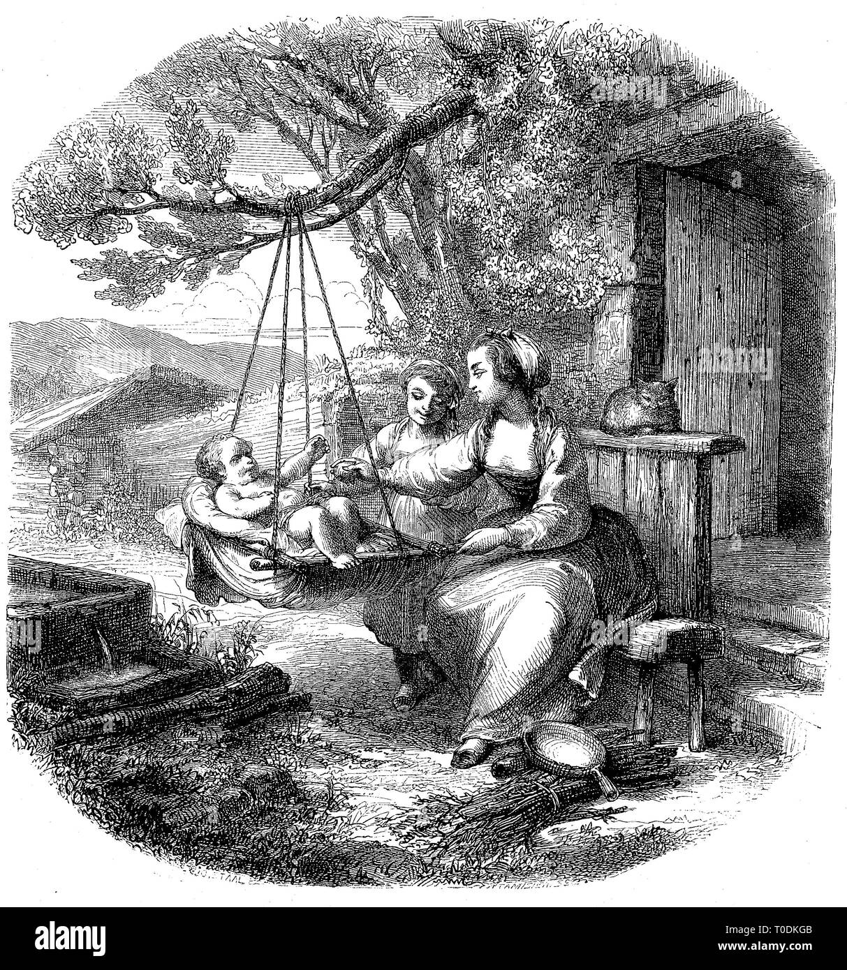 Digital improved reproduction, Baby in the cradle on a branch, mother and daughter sitting on a bench and rocking the toddler, original woodprint from th 19th century Stock Photo