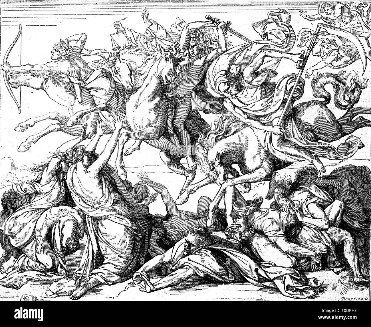 Digital improved reproduction, Four Horsemen of the Apocalypse are described in the last book of the New Testament of the Bible, the Book of Revelation by John of Patmos, original woodprint from th 19th century - Stock Image