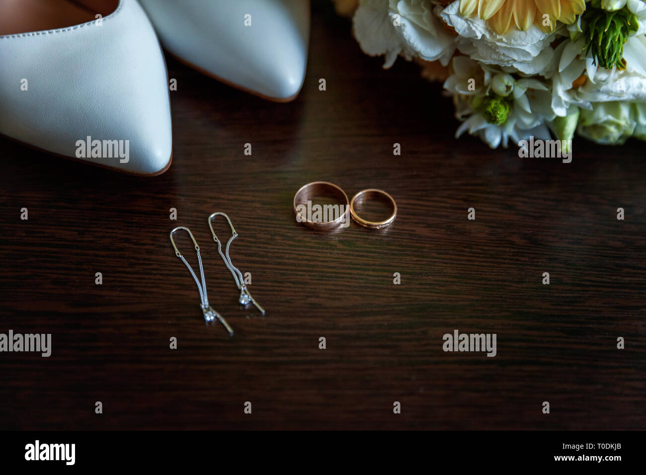 Beautiful Wedding Bouquet Of Flowers Rings Bridal Shoes On Wooden Background Declaration Of Love Spring Wedding Card Valentine S Day Greeting Wed Stock Photo Alamy