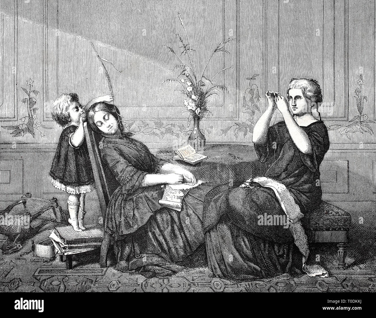 Digital improved reproduction, orphan infuriates his sleeping nanny with a blade of grass, original woodprint from th 19th century Stock Photo