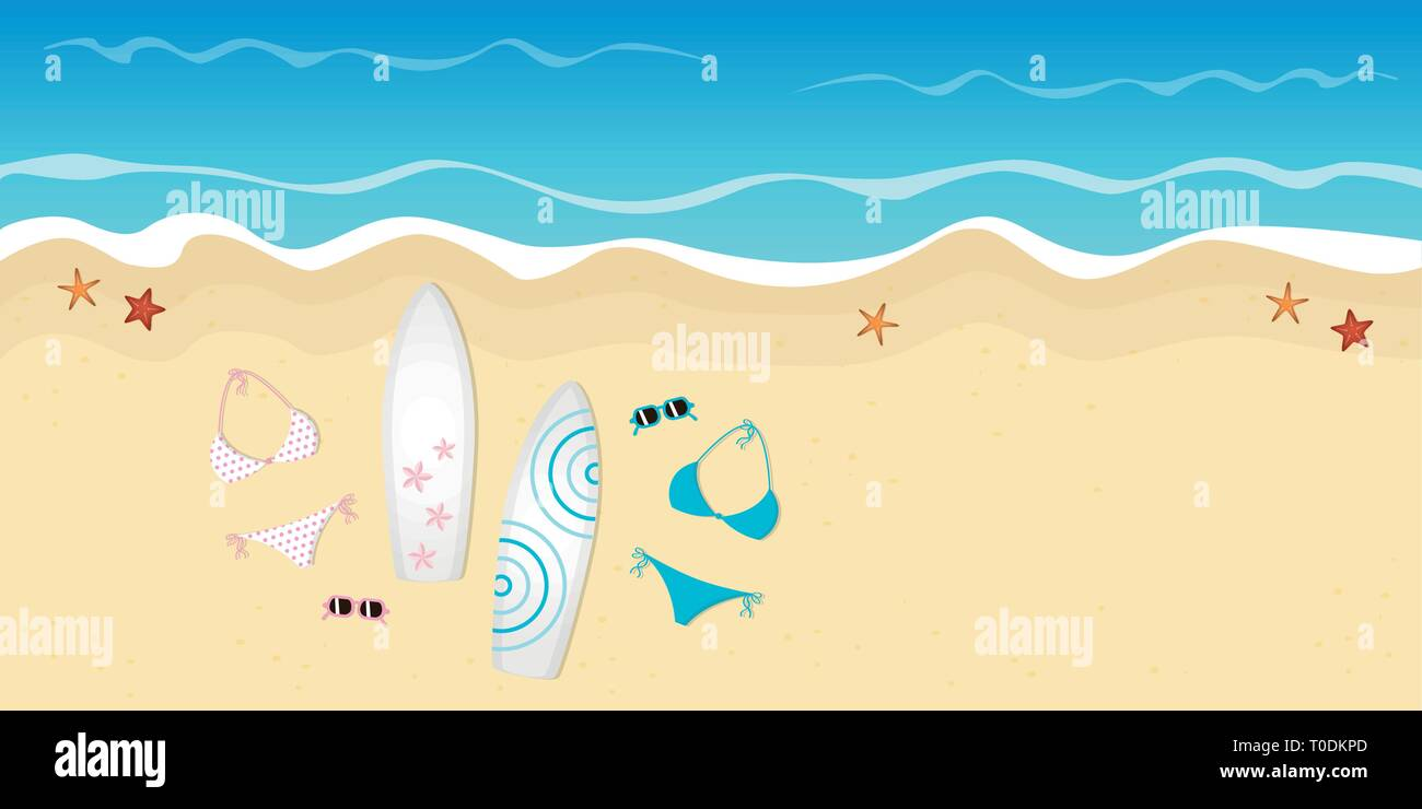 two surfboards bikinis and sunglasses on the beach summer holiday design vector illustration EPS10 - Stock Vector