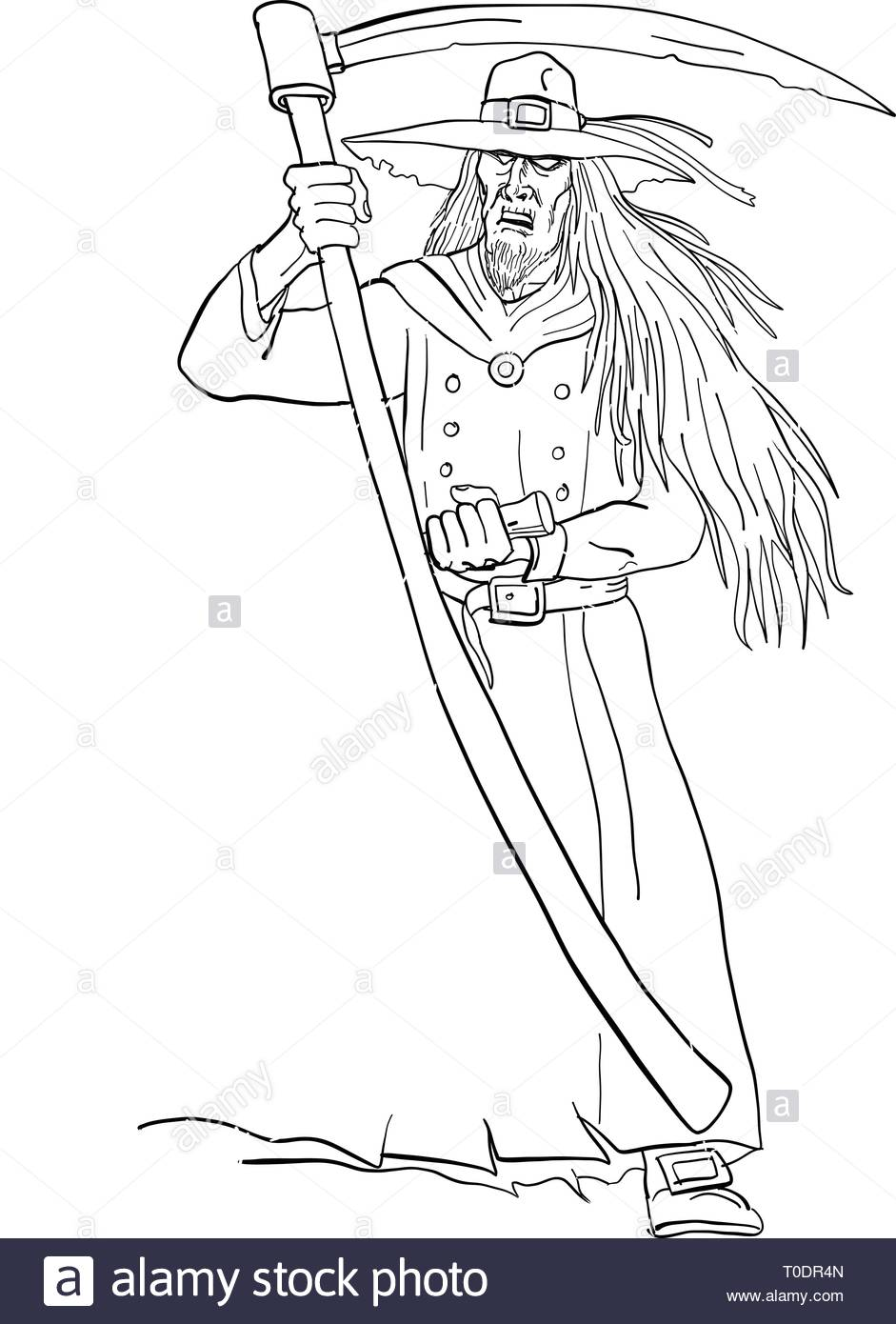 453ad5ba Drawing sketch style illustration of Ankou, henchman of Death, keeper of  lost souls and