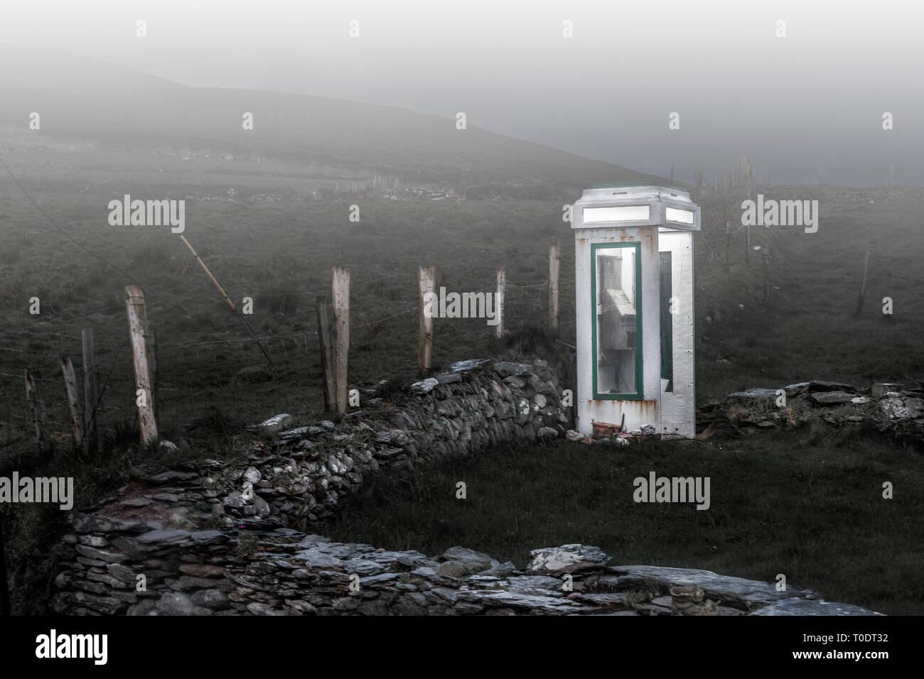 Dursey Island, Cork, Ireland. 27th April, 2015. An old disused telephone box on Dursey Island. Co. Cork, Ireland. - Stock Image
