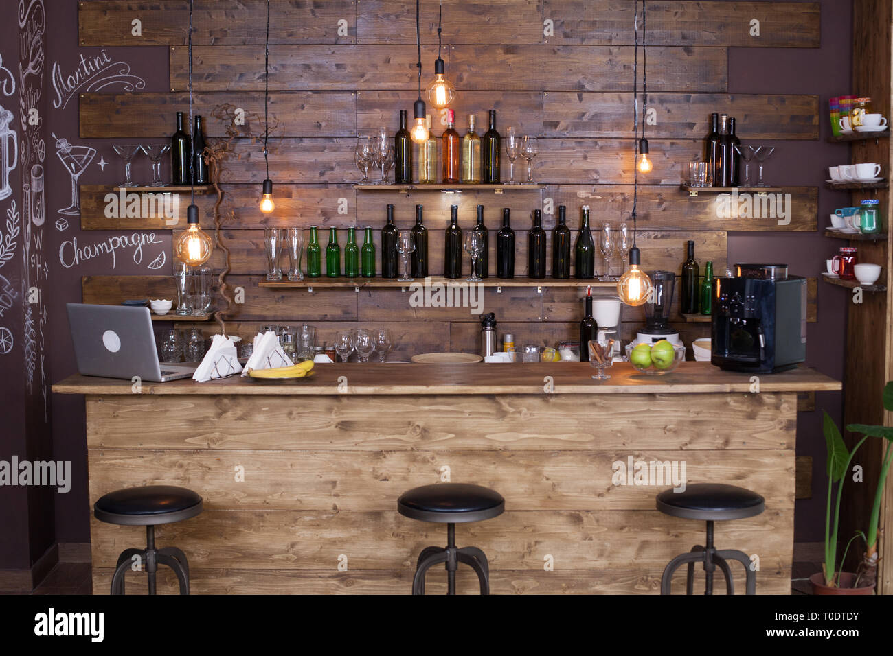 Coffee Shop Bar Counter With Wine Bottles Modern Design Vintage Atmosphere Stock Photo Alamy