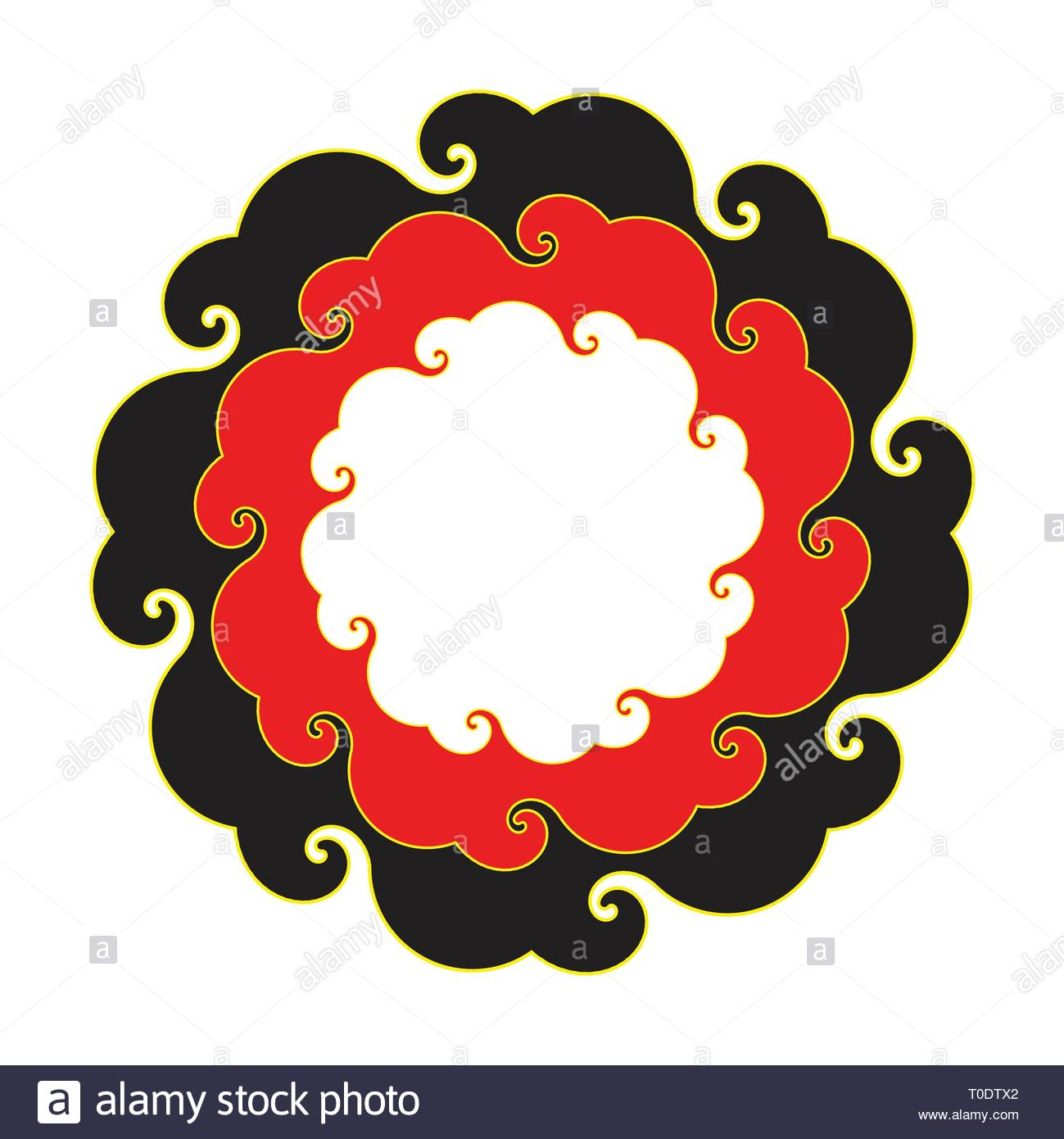 curly round clouds frame in red black gold shades - Stock Image